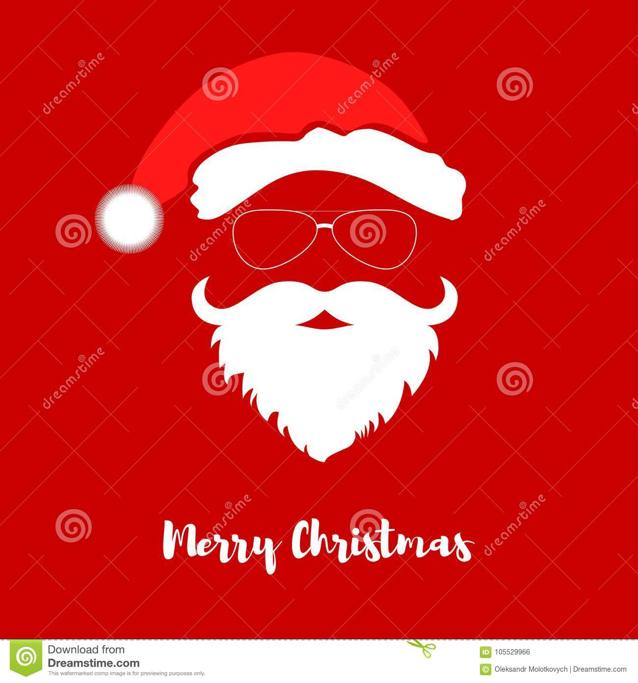 10f2525e1a592f Vector Santa Claus Head With Hat And Beard. Stock Vector ...