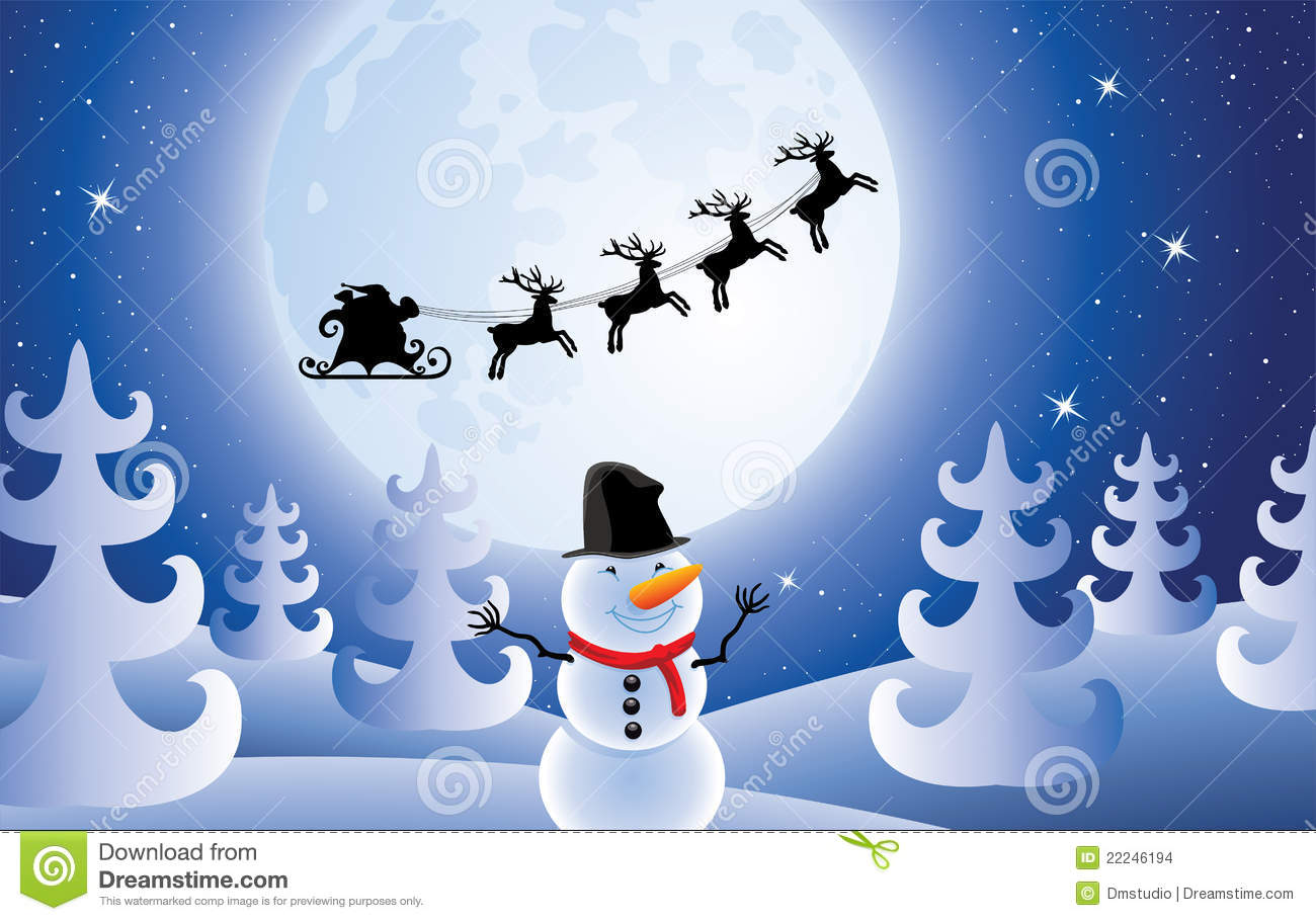 Vector Santa Claus, Trees And Snowman Stock Images - Image: 22246194