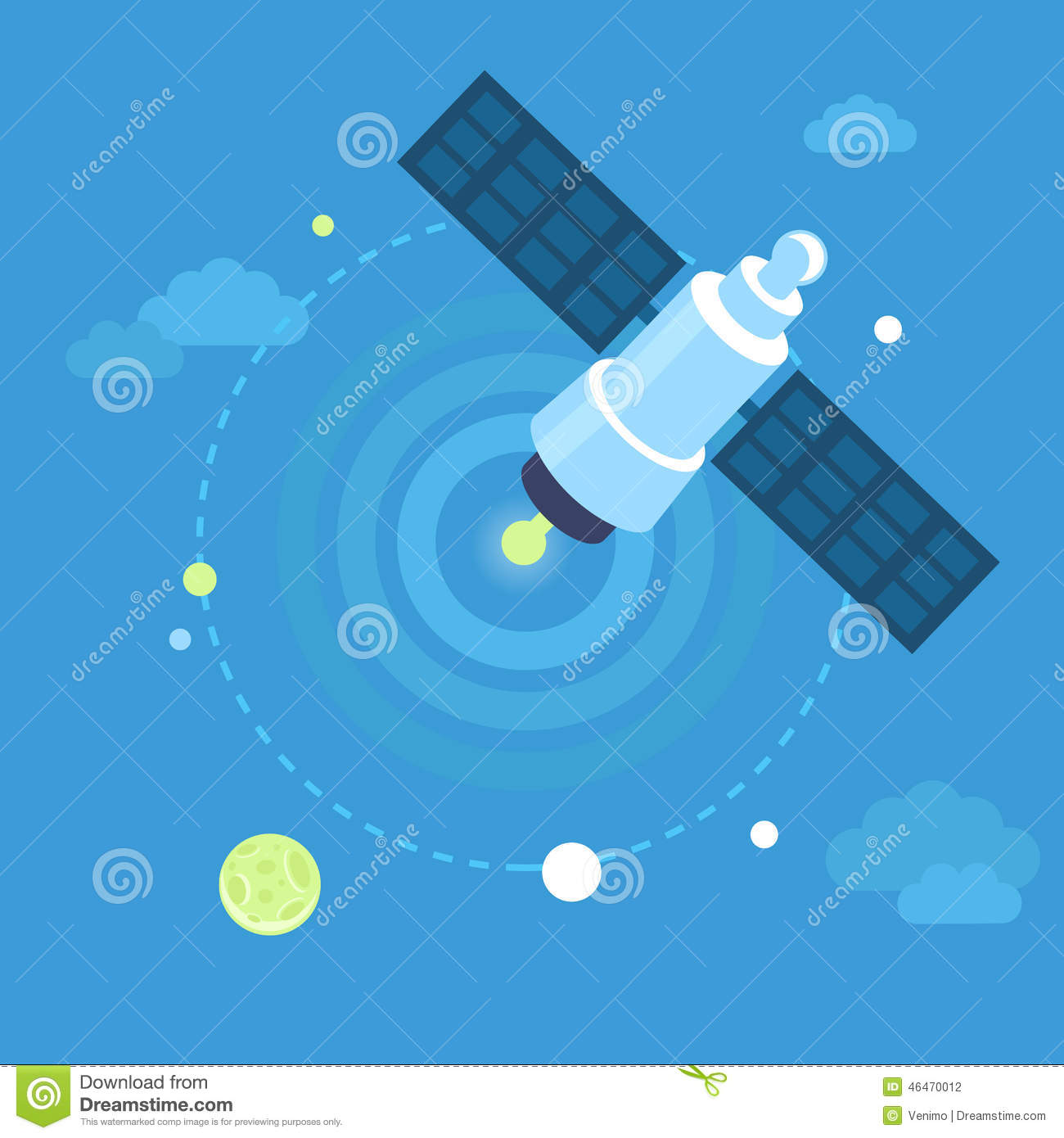 Vector Satellite Concept In Flat Style Stock Vector ...