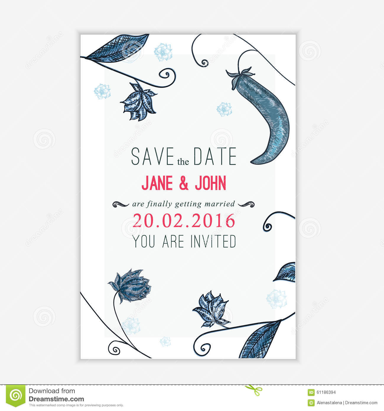 Vector save the date card with floral young peas background sketch vector save the date card with floral young peas background sketch linear template for invitations maxwellsz