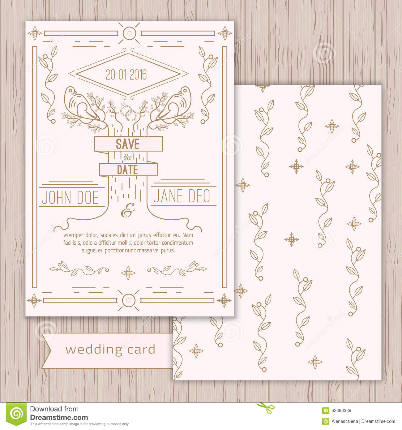 Vector Save The Date Card Template - Wedding Stock Vector ...