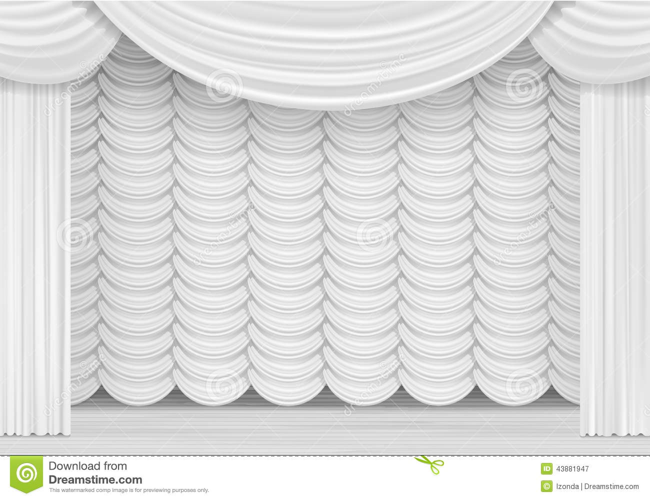 vector scene with white curtains stock vector