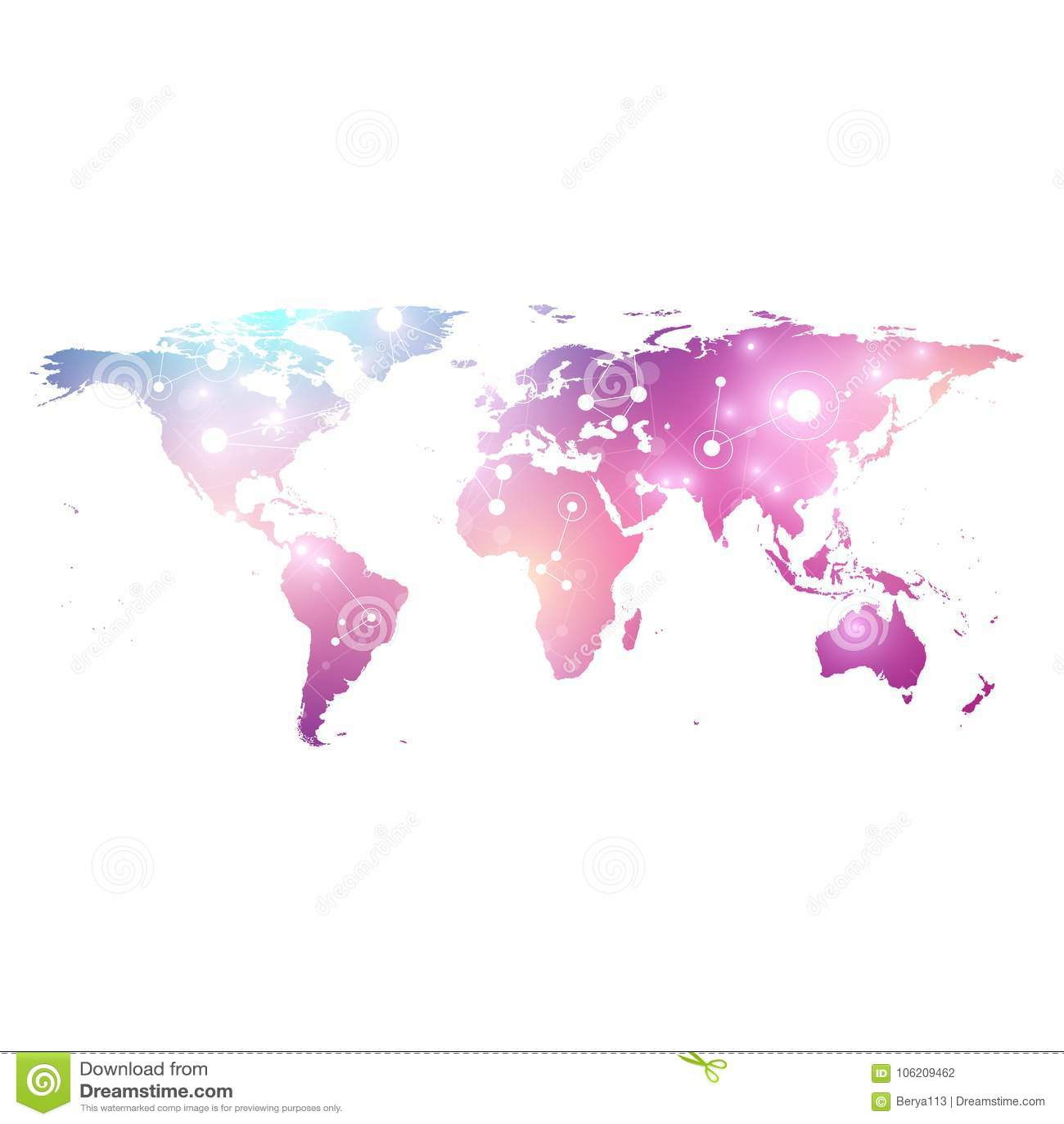 Vector Schablone Weltkarte mit globalem Technologievernetzungskonzept Verbindungen des globalen Netzwerks Digital-Daten