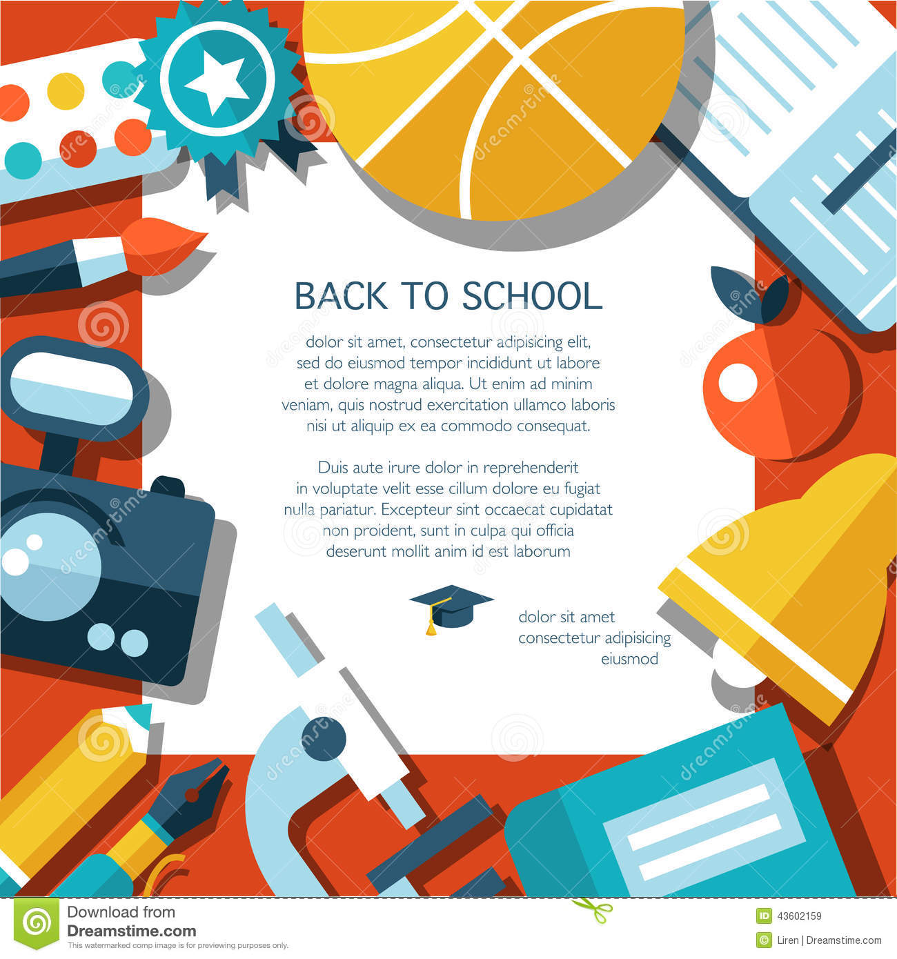 Vector School Flat Design Flyer Template Stock Vector Illustration