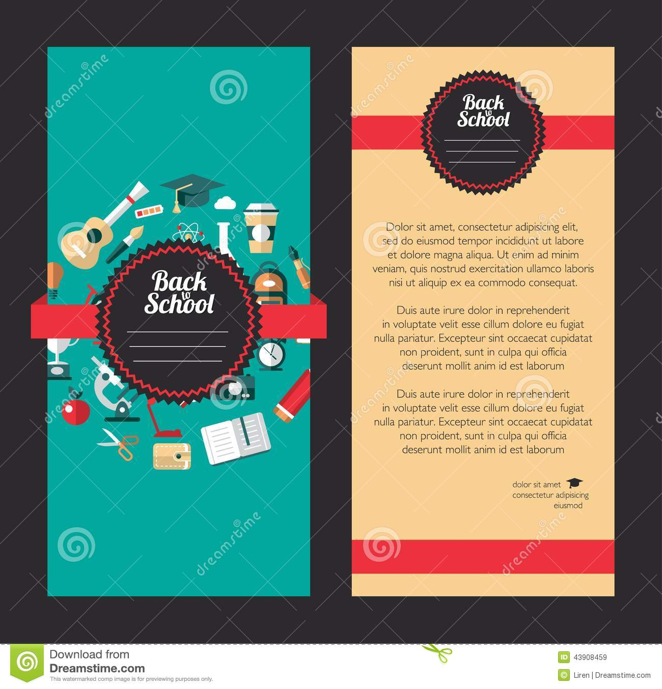 Bien connu Vector School Flat Design Flyer Templates Stock Vector - Image  NE12
