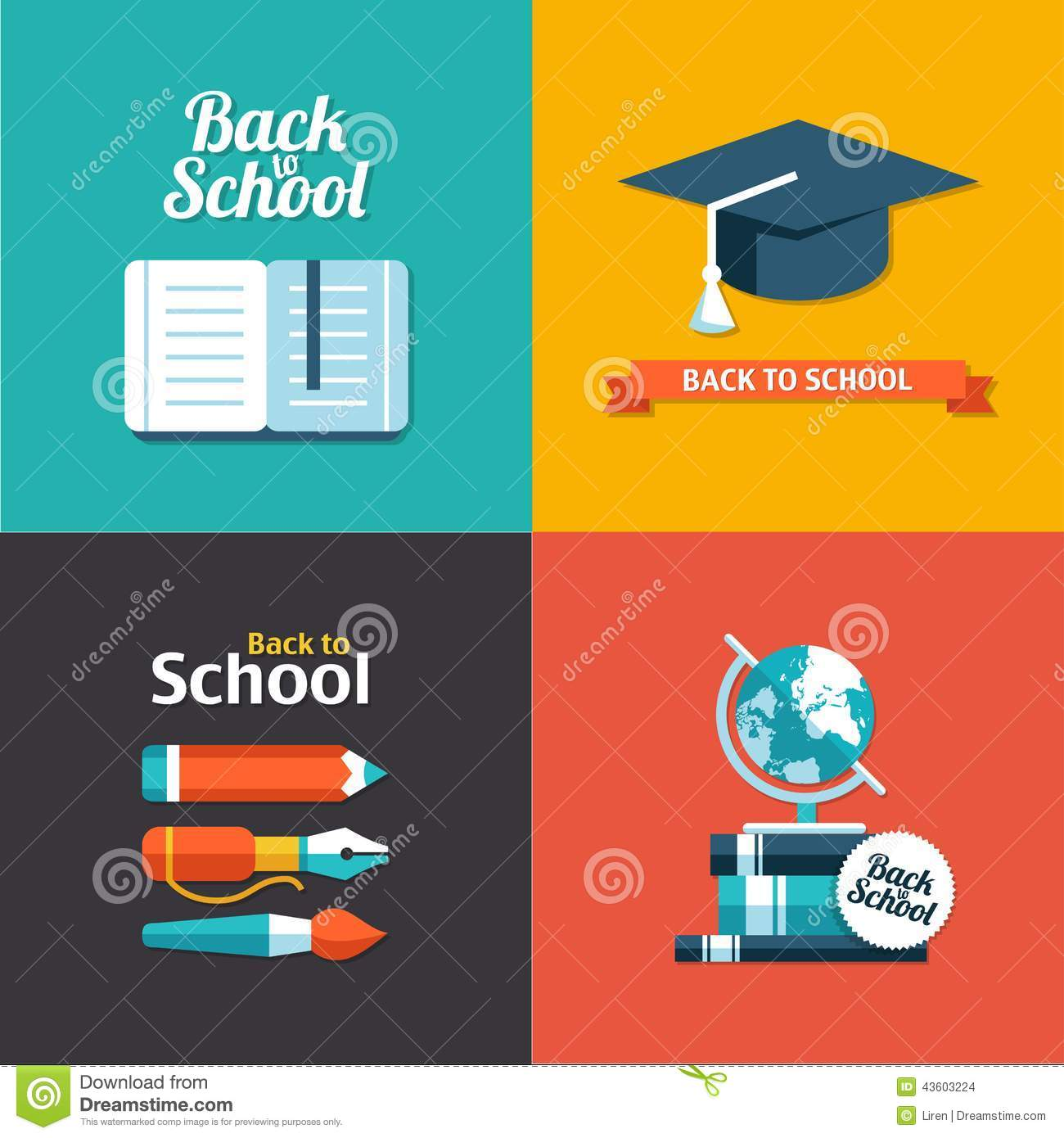 Vector School Flat Design Flyers Templates Stock Vector