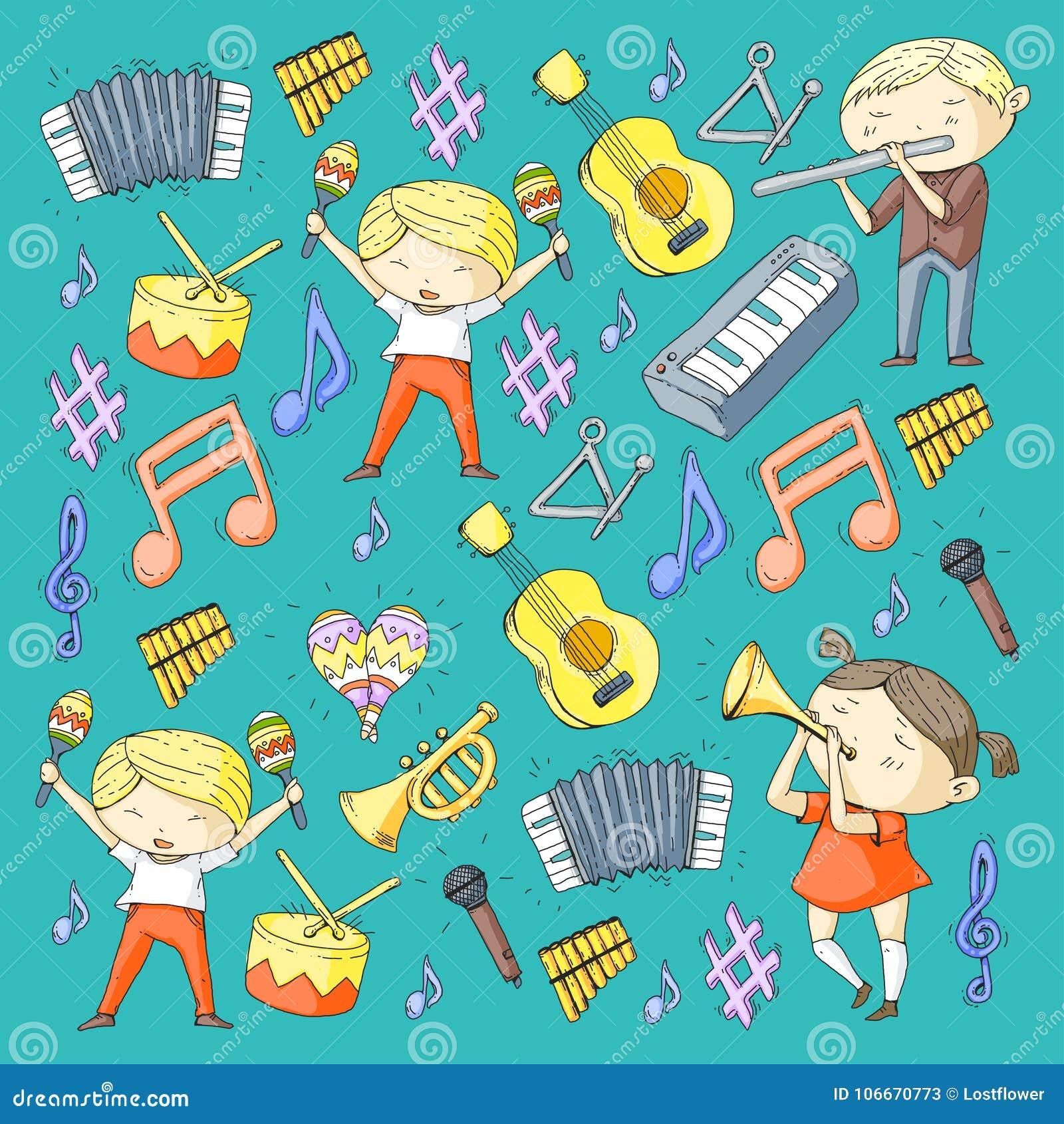 Vector school of music Musical theatre Kindergarten children with music instruments Drum, flute, accordion, trumpet