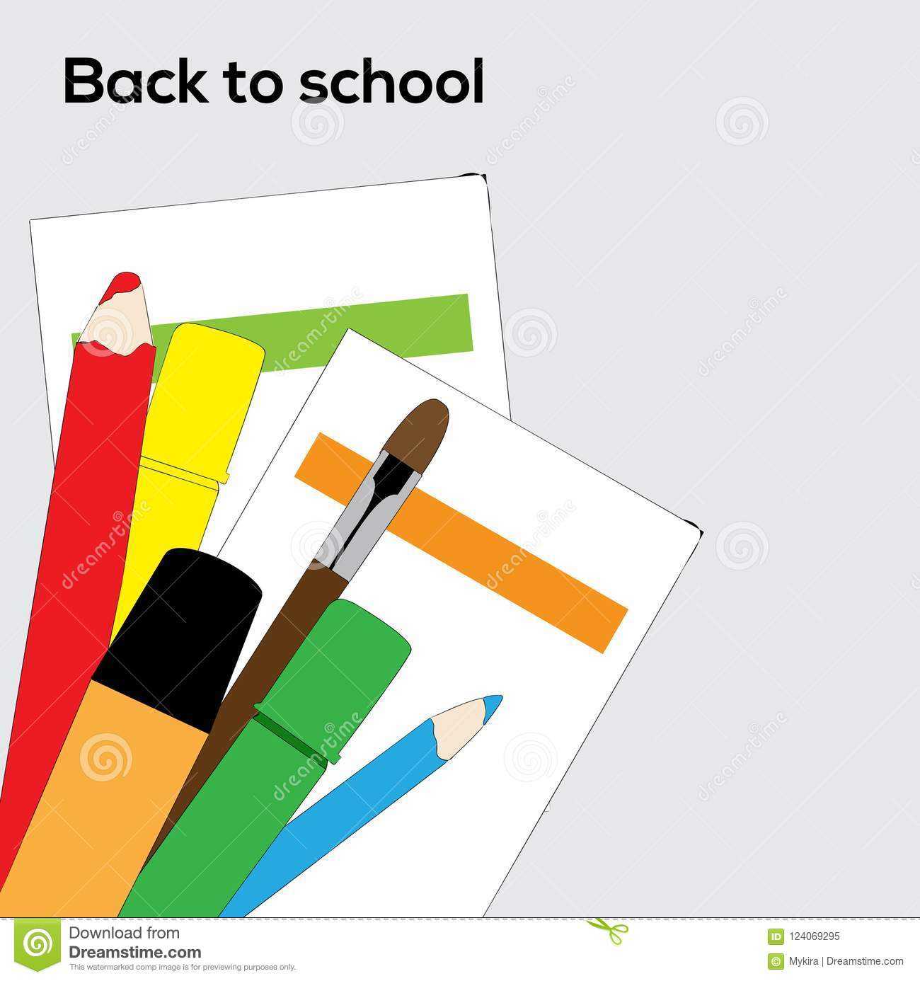 Download Vector School Supplies Pencils, Brush And Markers Stock Vector - Illustration of computer, people: 124069295