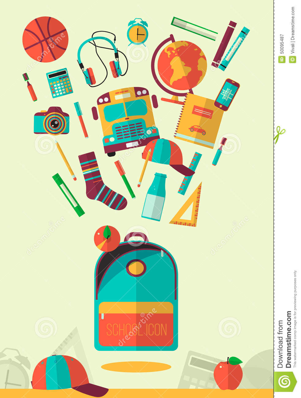 Vector School Workspace Illustration Education And School
