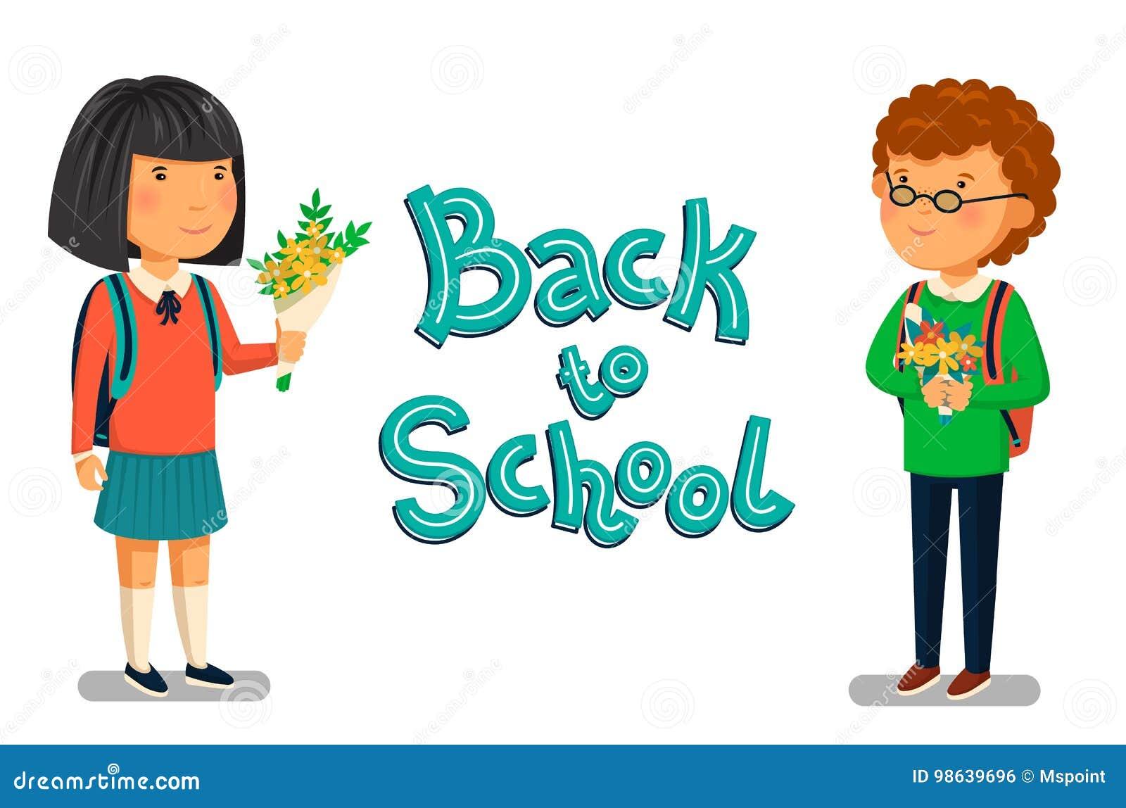 vector schoolboy and schoolgirl with back to school text template