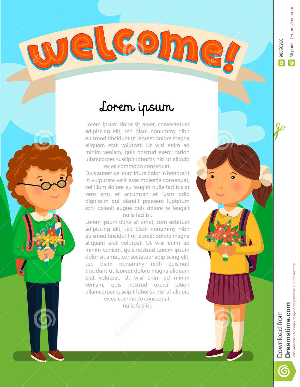 vector schoolboy and schoolgirl with welcome text template welcomre