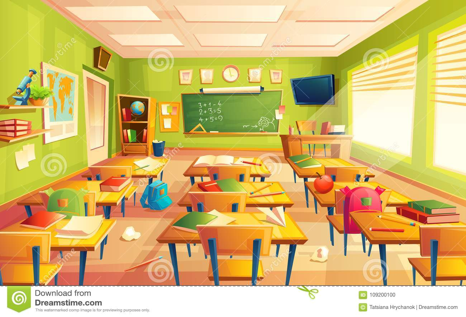 Vector Schulklassenzimmerinnenraum, Mathetrainingsraum Pädagogisches Konzept, Tafel, Tabellencollegemöbel