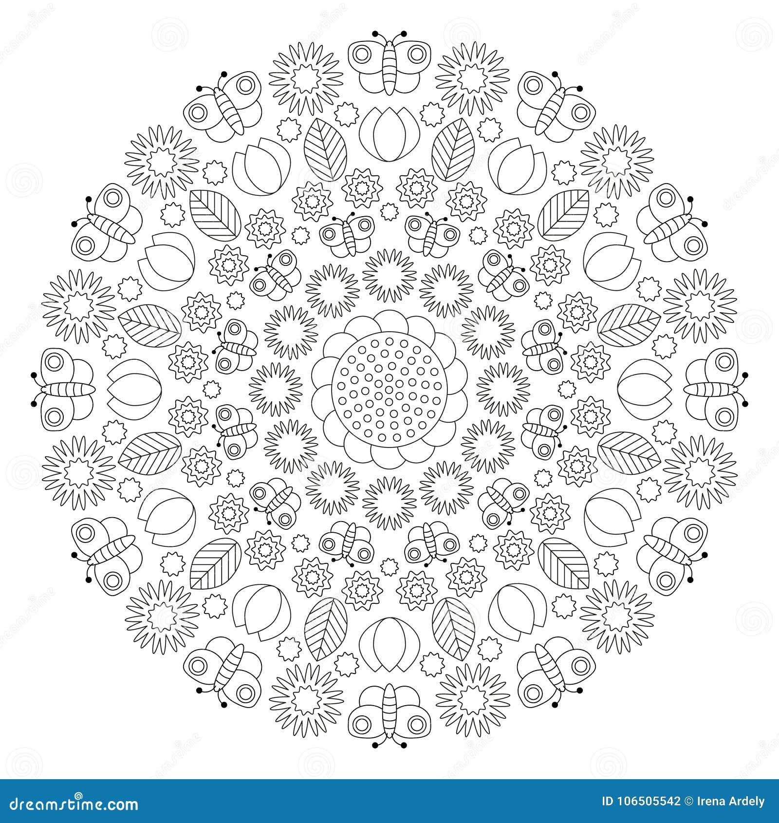 Vector Schwarzweiss Frühlingsmandala Mit Schmetterlingen Blumen