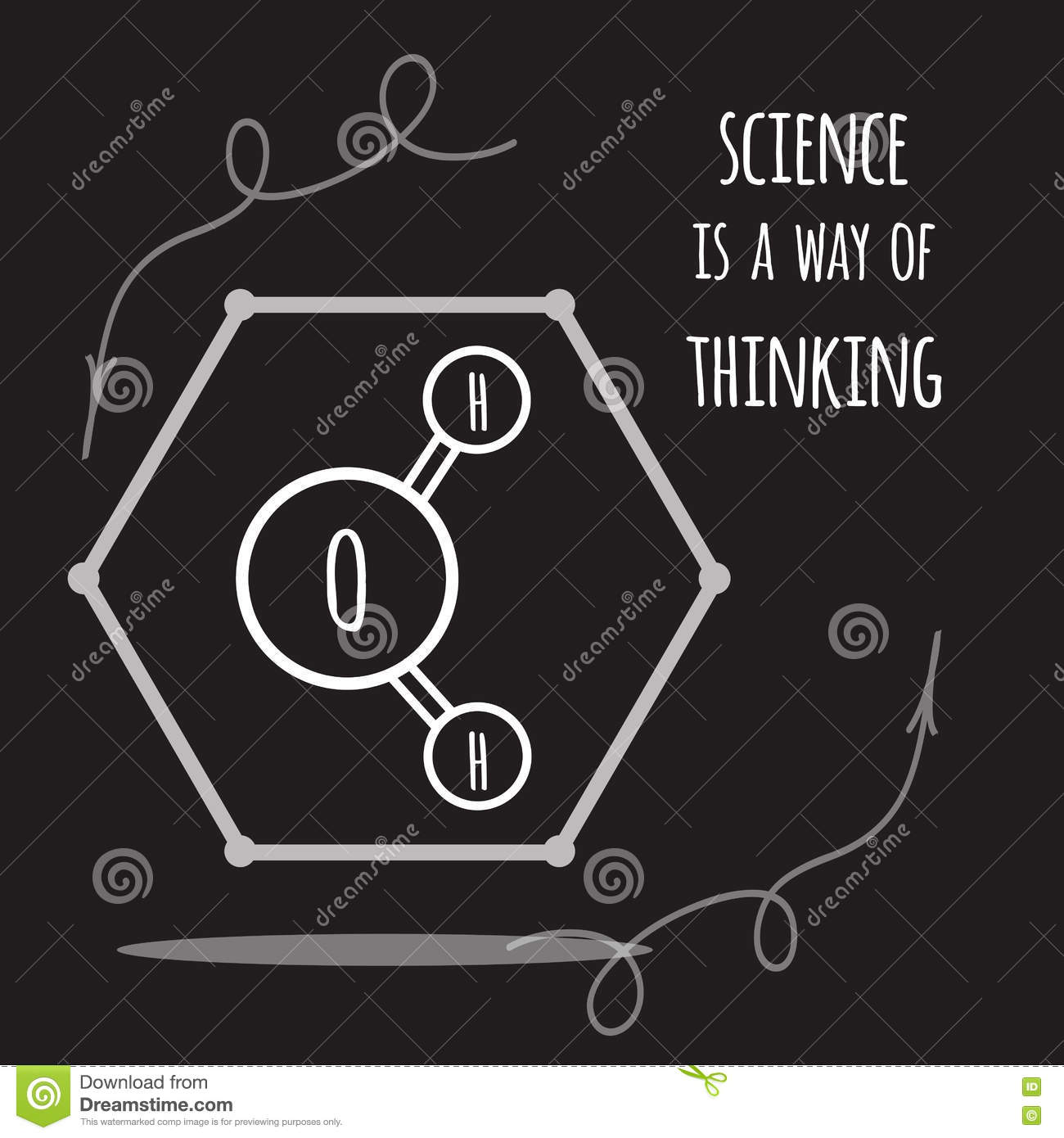 Water Molecule Diagram Black And White.Vector Science Card With Inspirational Quote Decorated Water