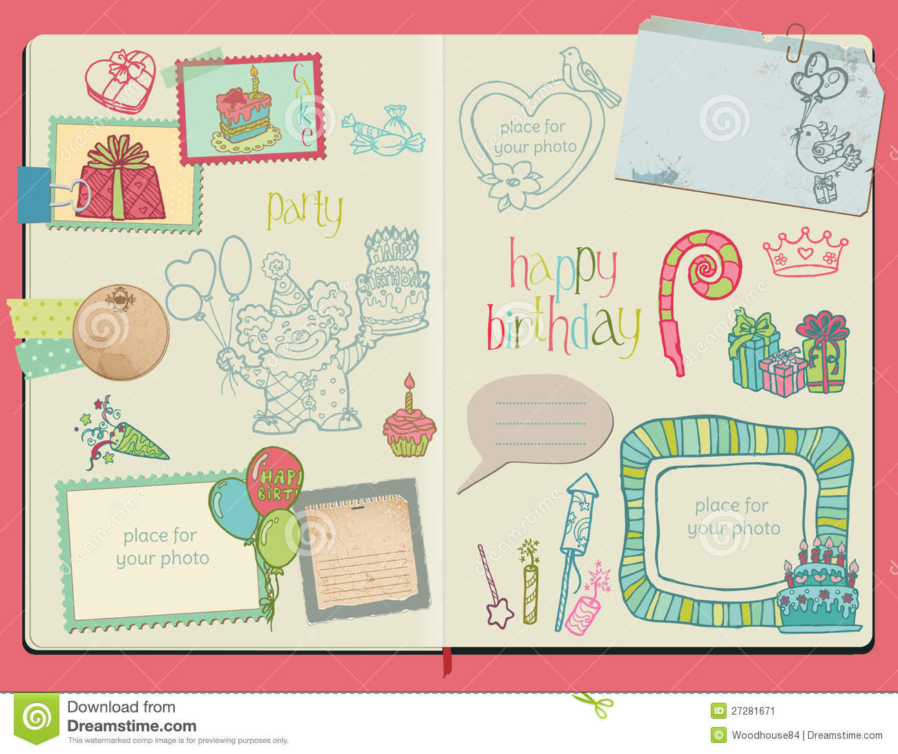 ... Design Elements - Happy Birthday Set - hand drawn in notepad
