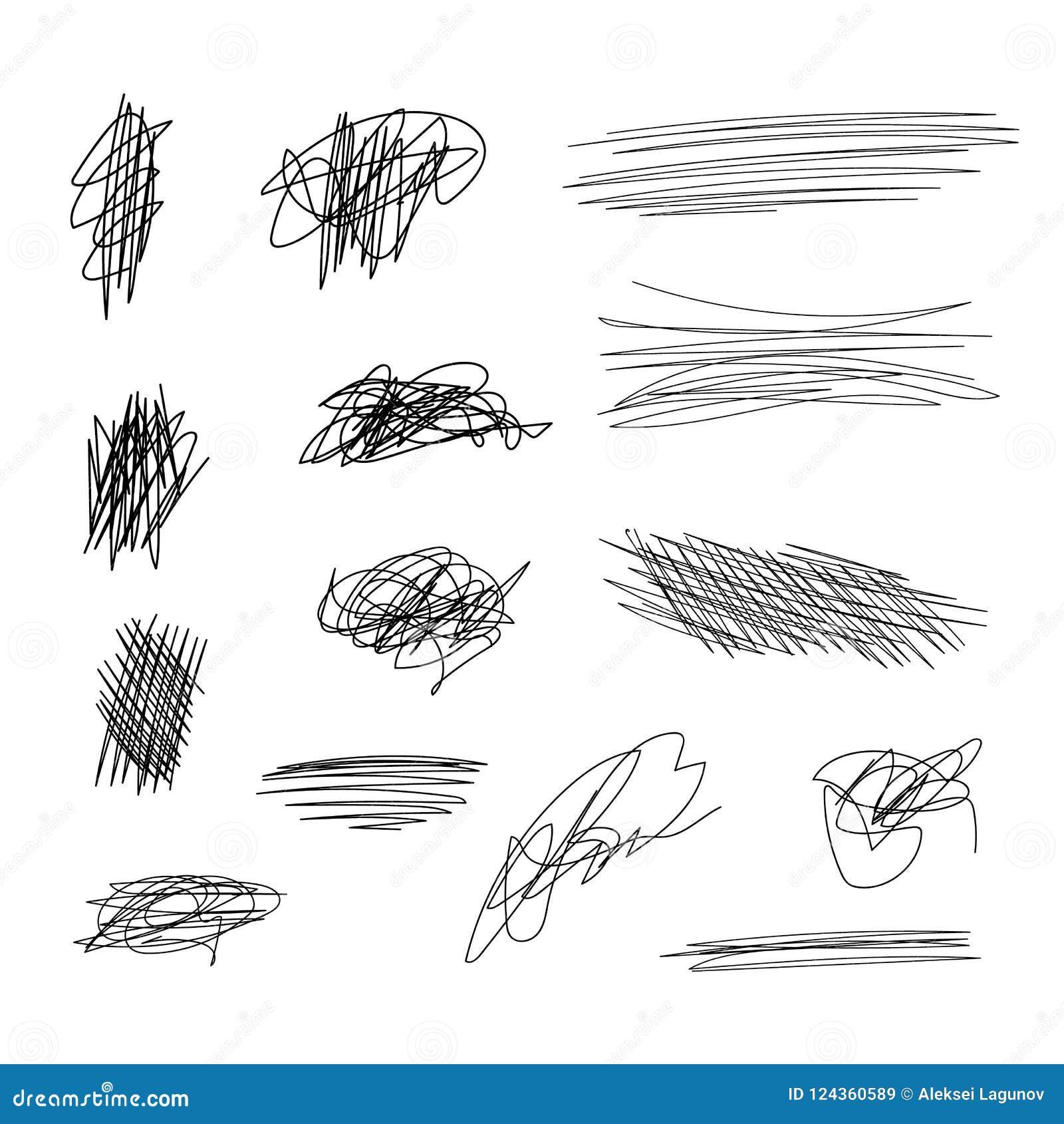Vector Scribble Lines Set, Black Brush Strokes on White.