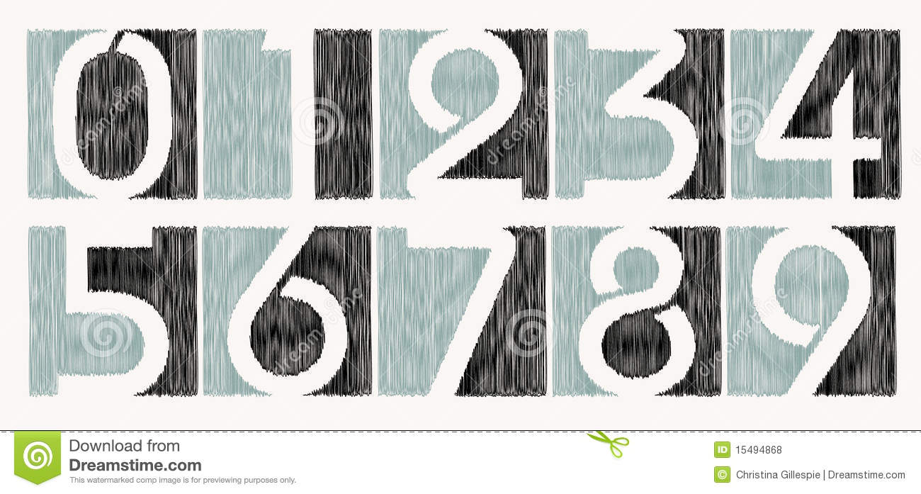 Vector scribbled number set stock vector image 15494868 for Blueprint number