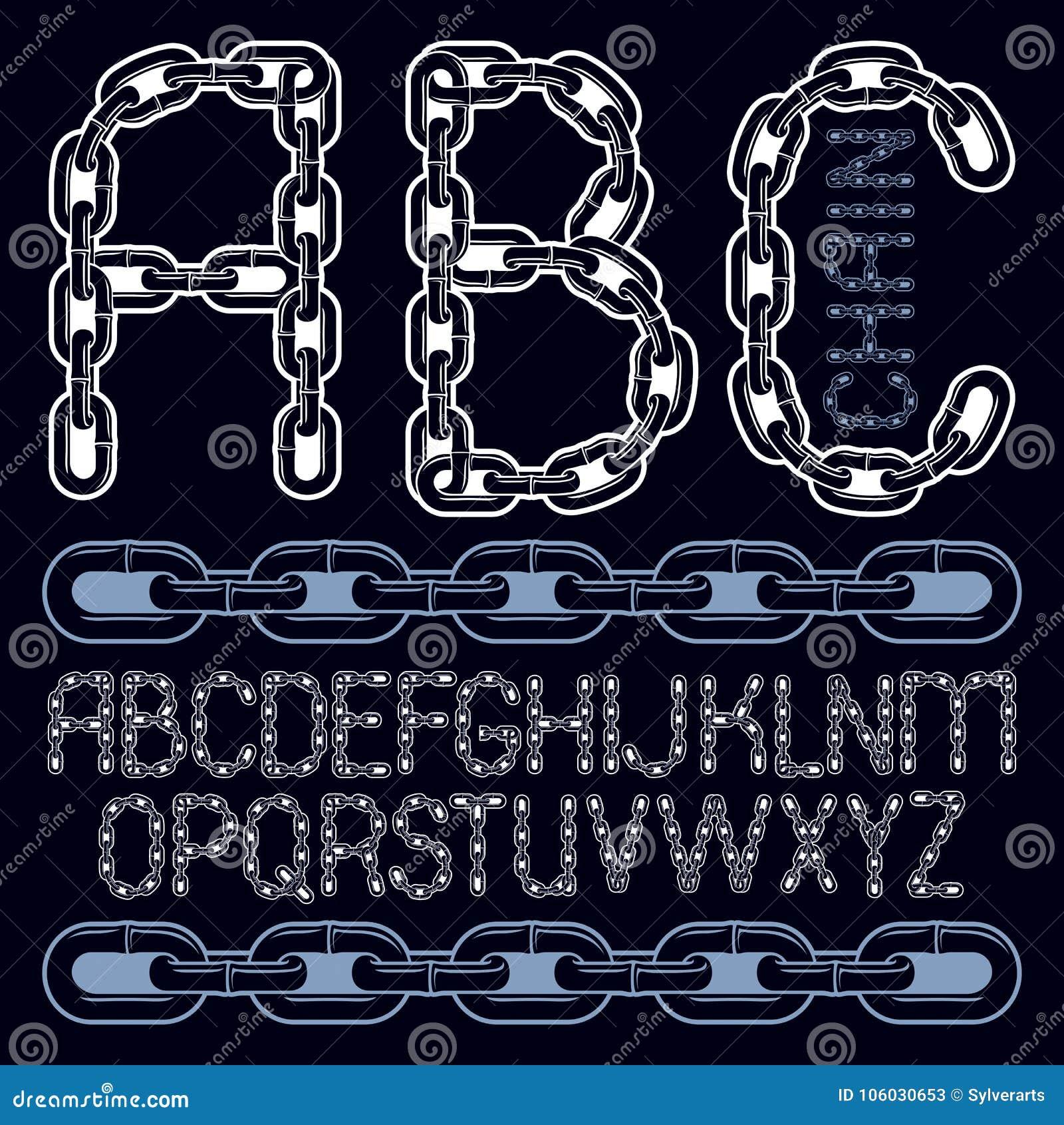 Vector Script, Modern Alphabet Letters Set  Capital