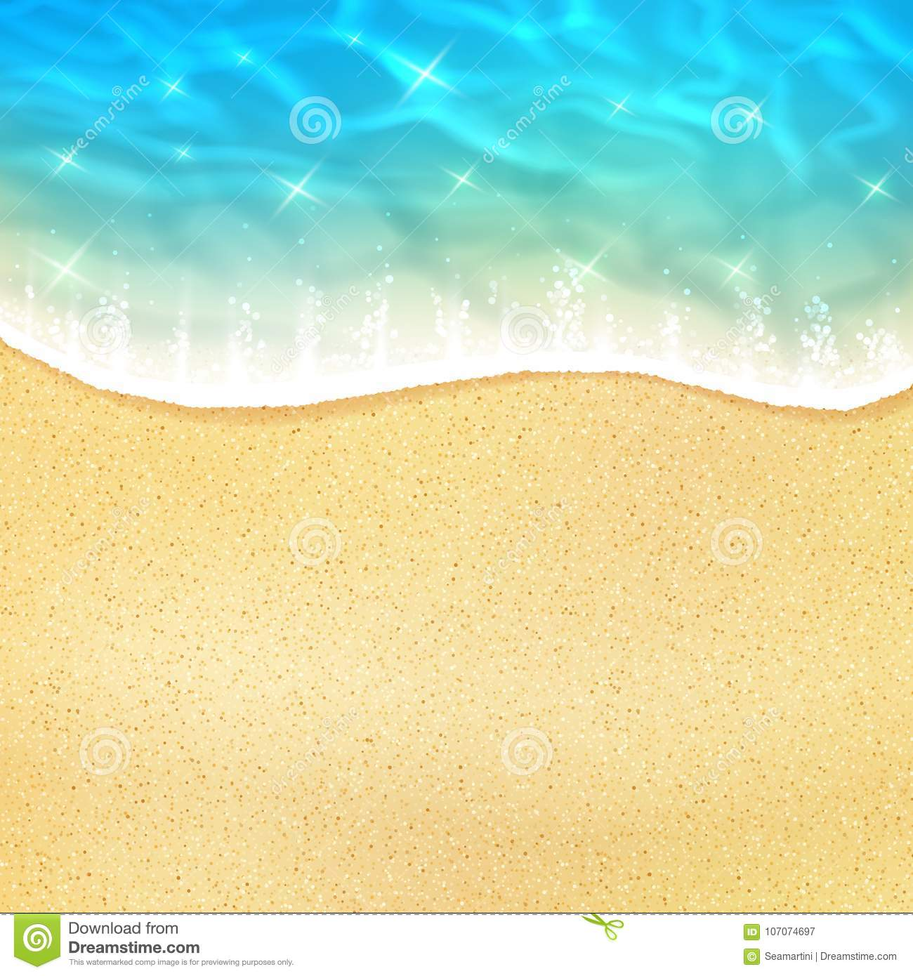 Vector sea beach or ocean shore sand and waves