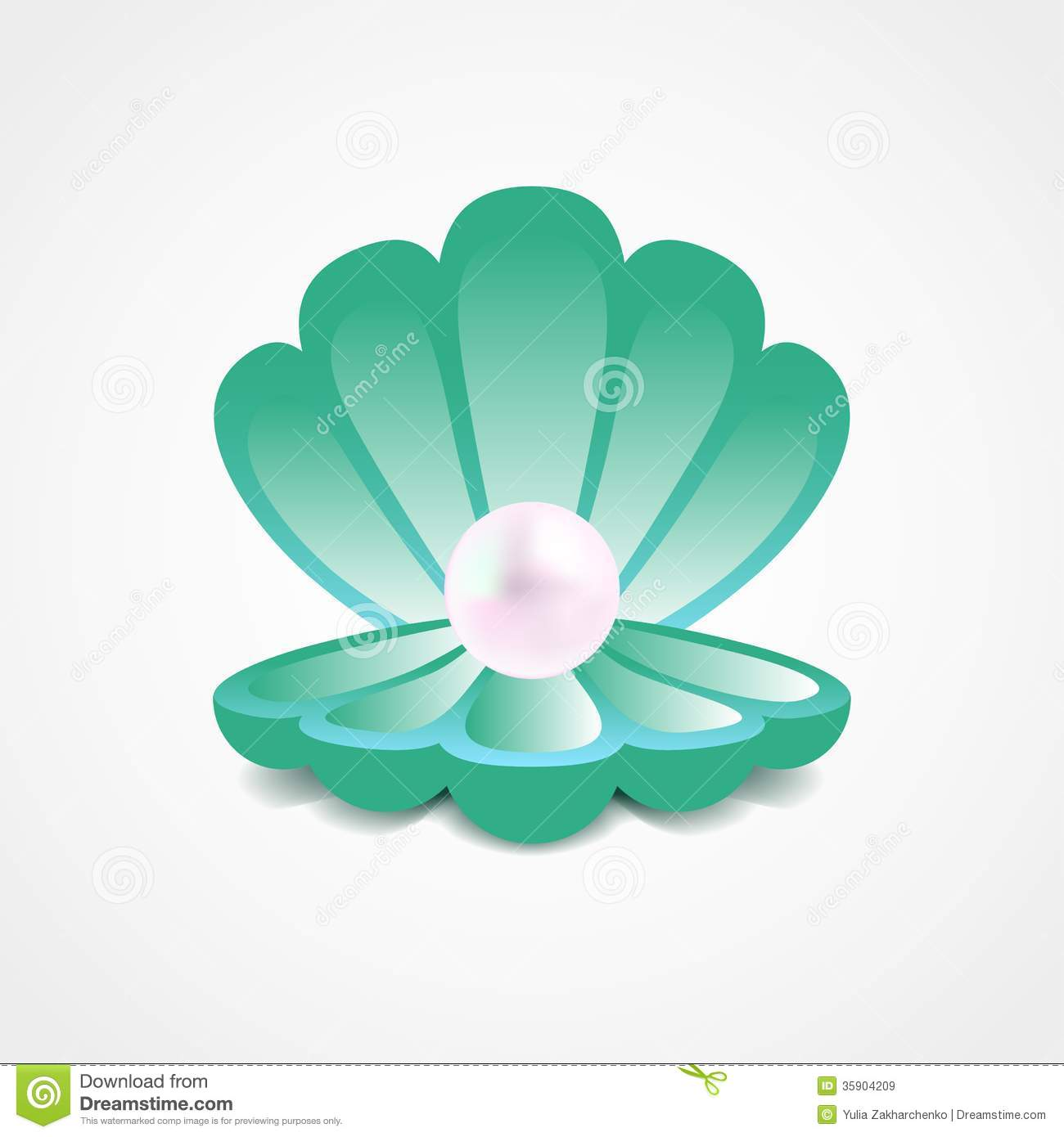 Vector Sea-green Shell With A Pearl Inside Stock Vector ...