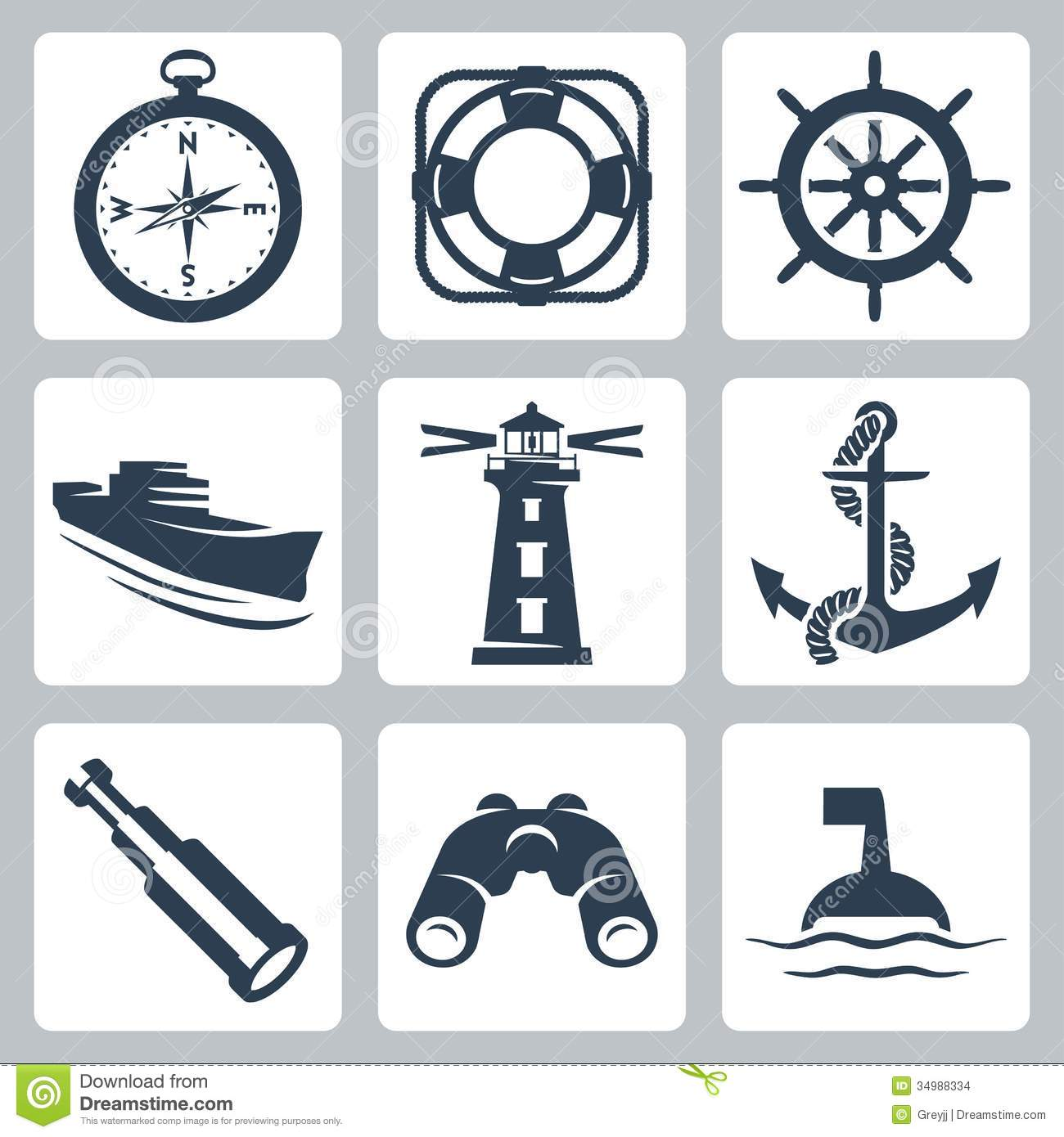 Vector Sea Icons Set Stock Images