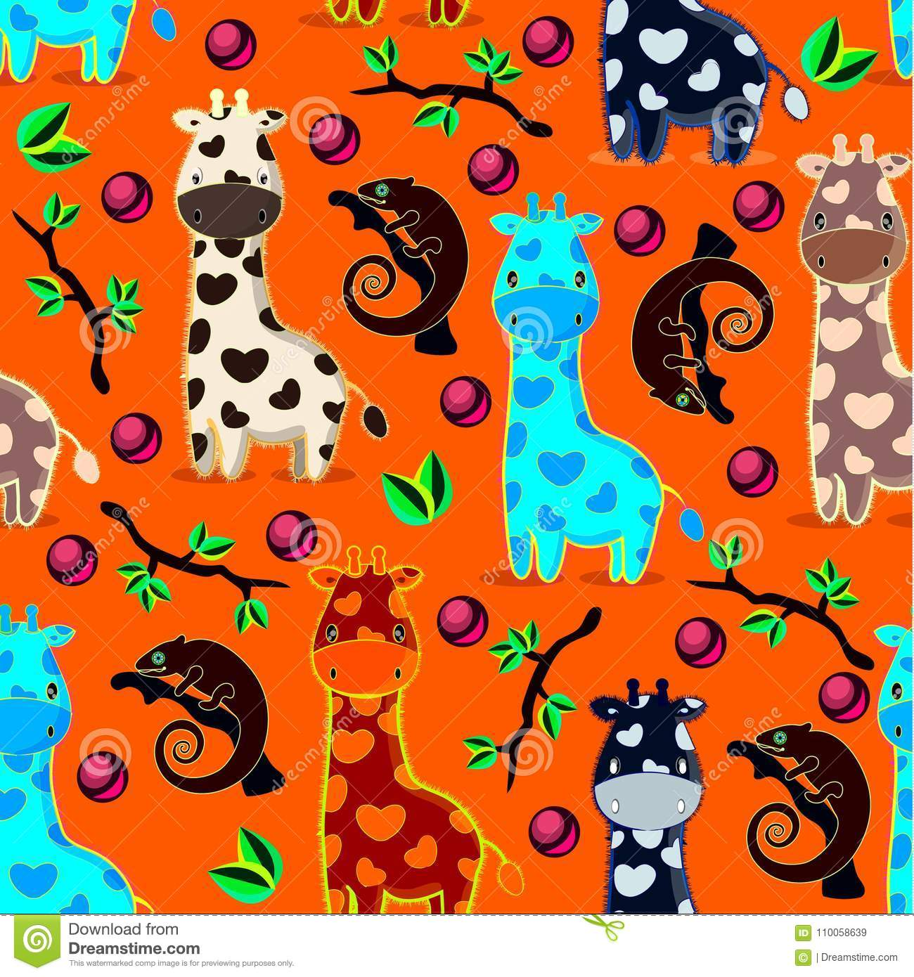 Vector seamles pattern with giraffes, chameleons, branches