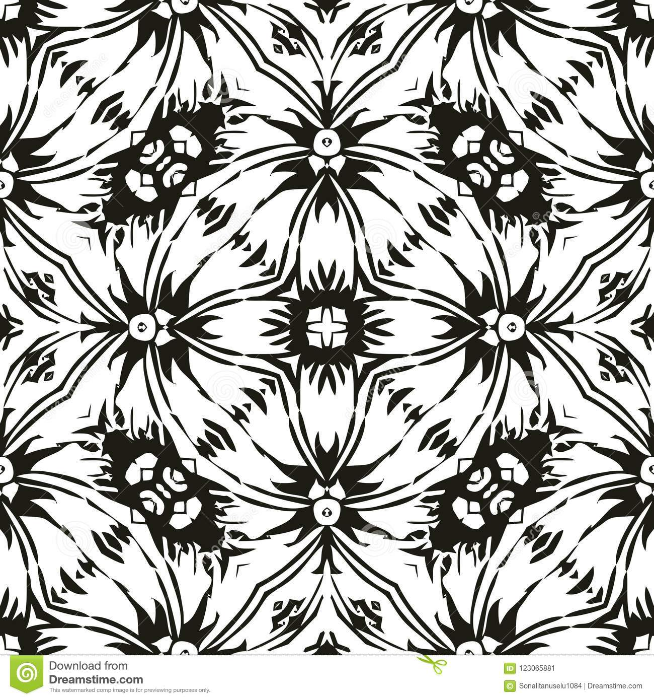 Vector Seamless Abstract Pattern Black And White Background Wallpaper Illustration