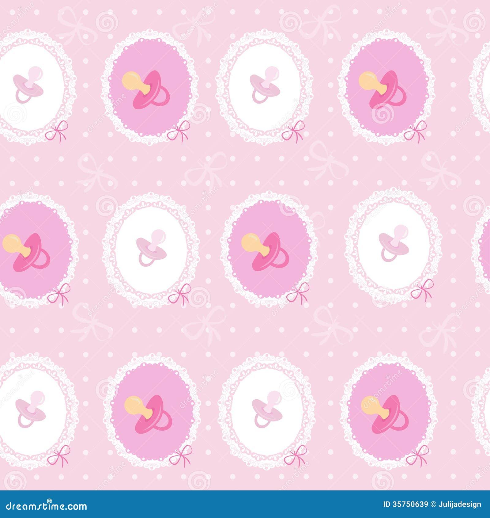 Vector Seamless Background For Baby Girl Stock Vector ...