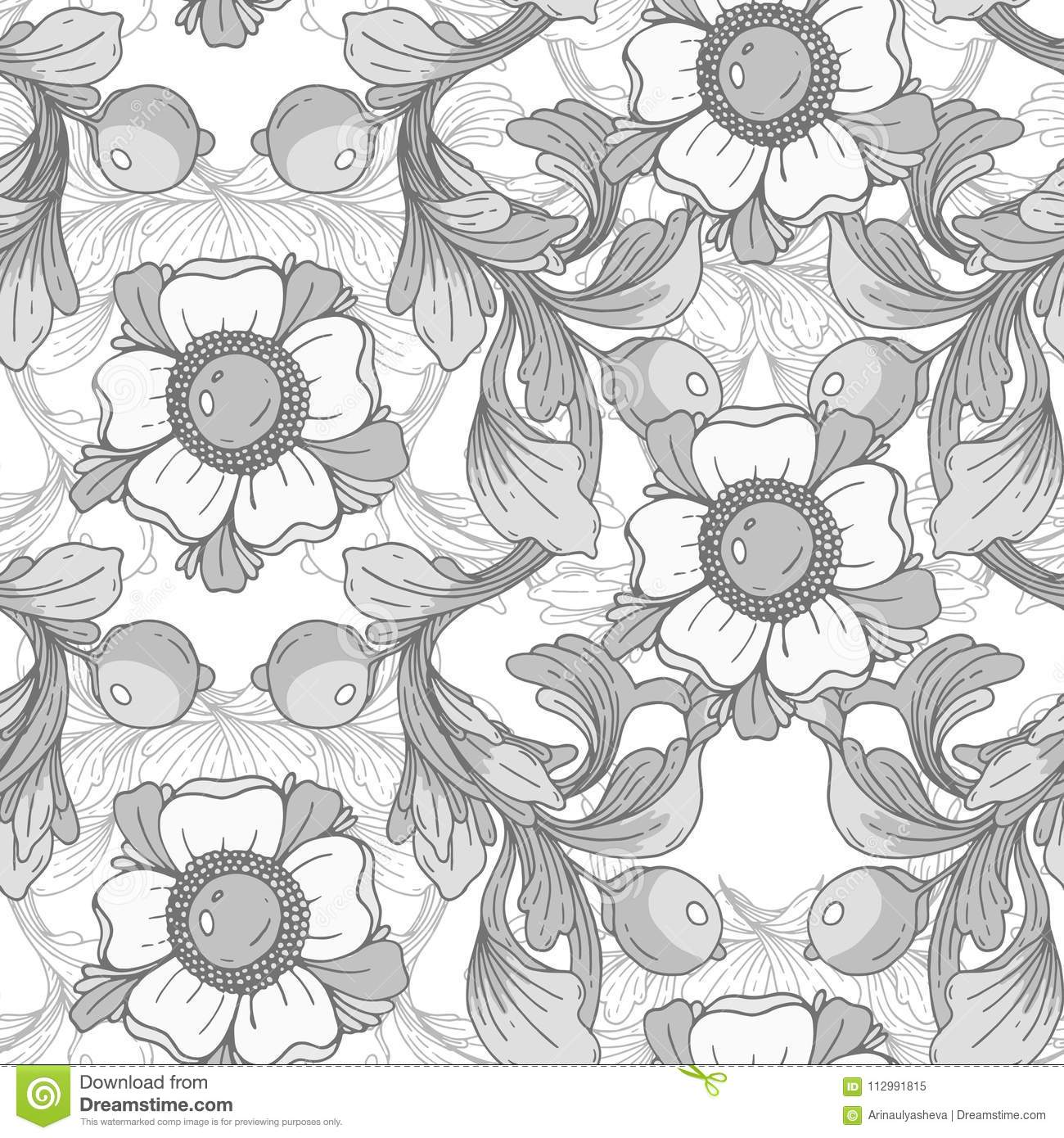 Vector seamless background. Beautiful gray fantastic floral border ornament delicate.