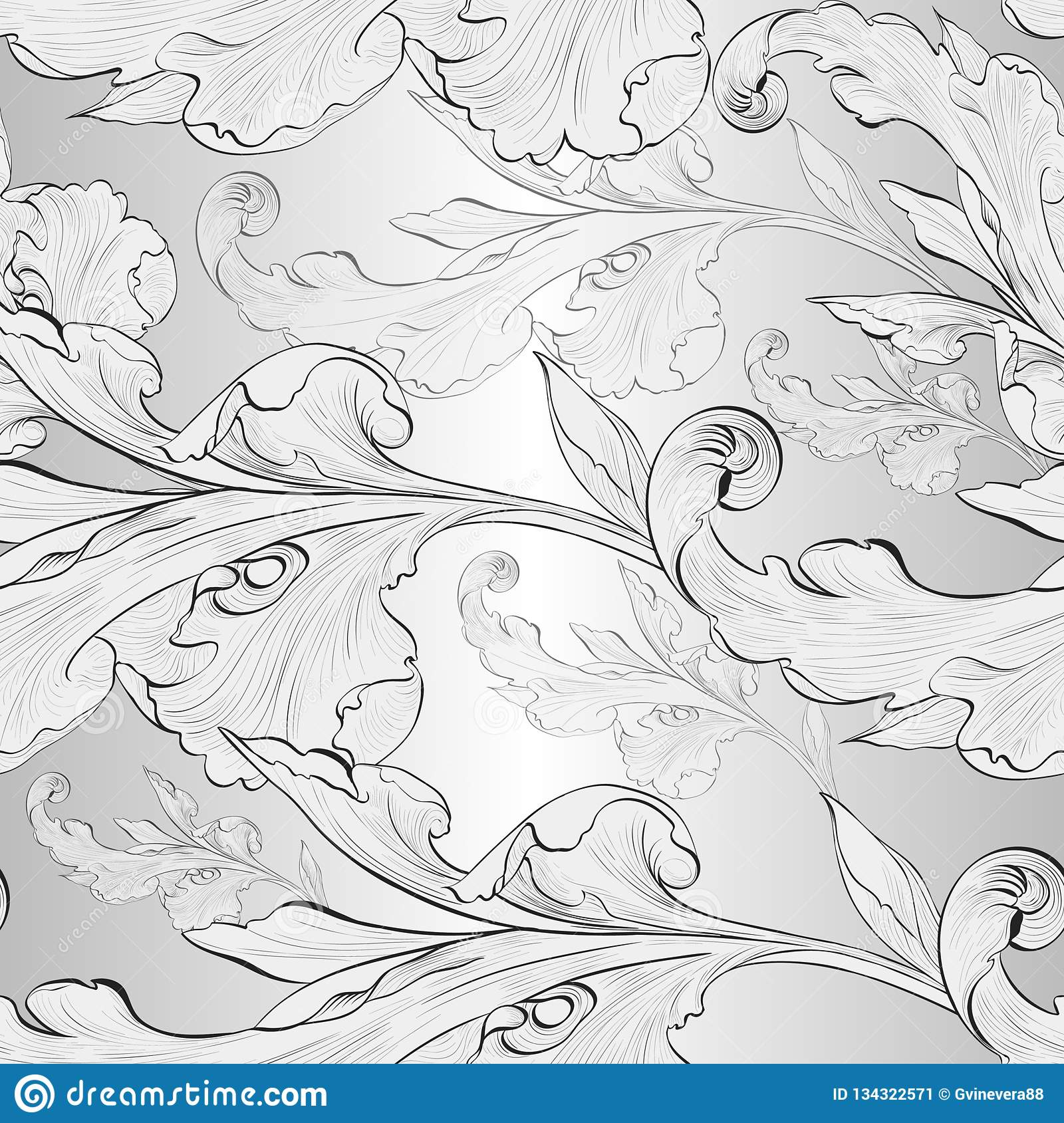 Vector. Seamless background. A branch is a plant element. Wallpaper. Decorative composition. Use printed materials, signs, posters