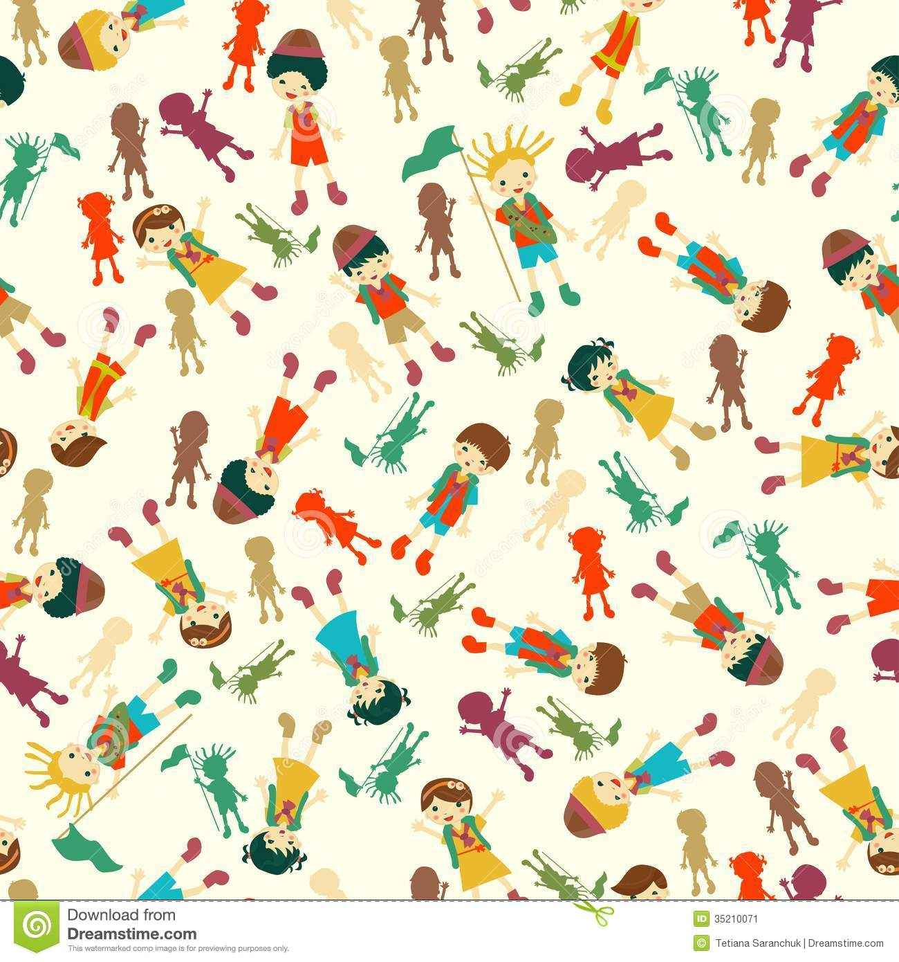 Vector Seamless Background With Kids Stock Image Image