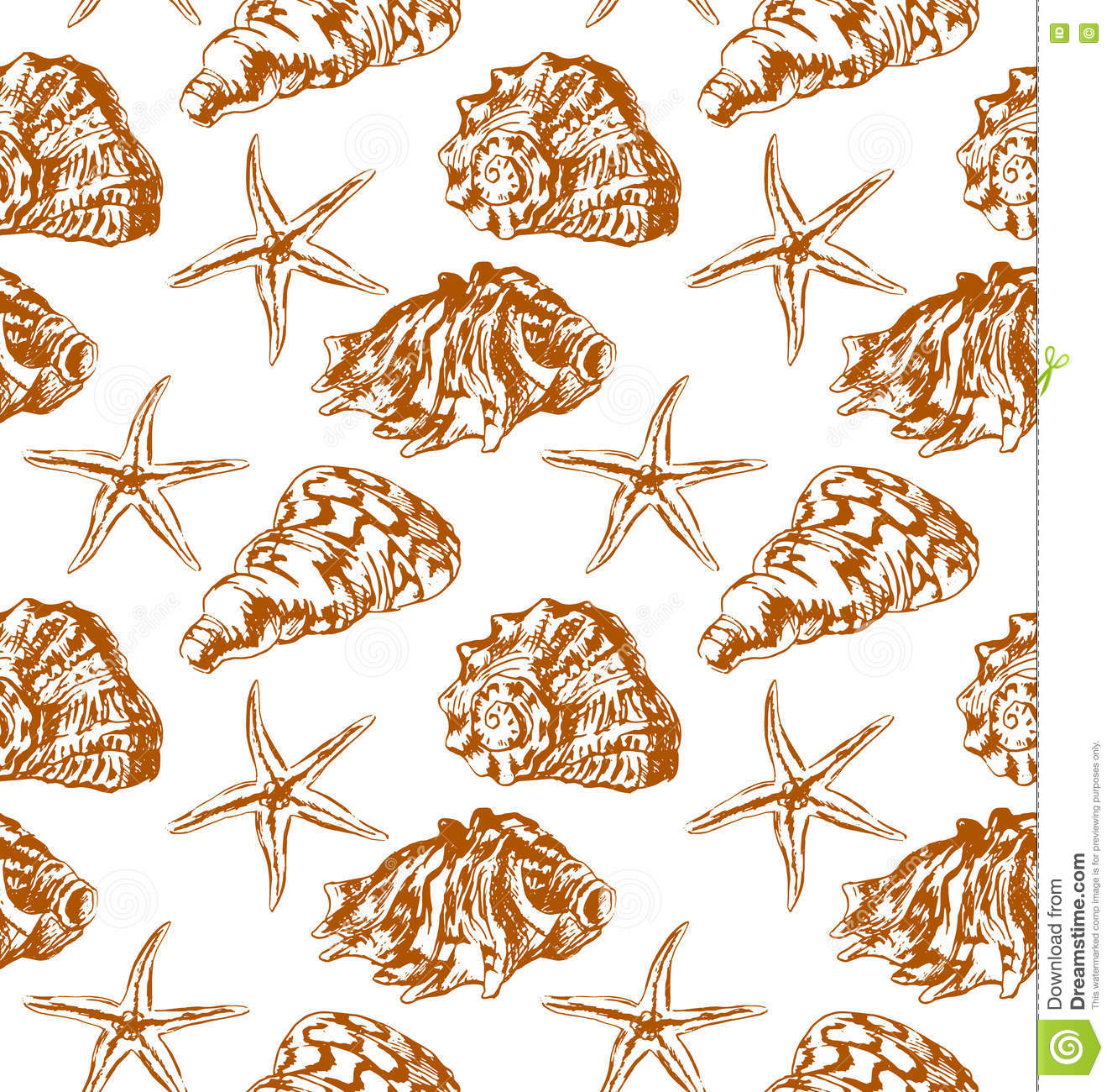 Vector seamless background with sea shells