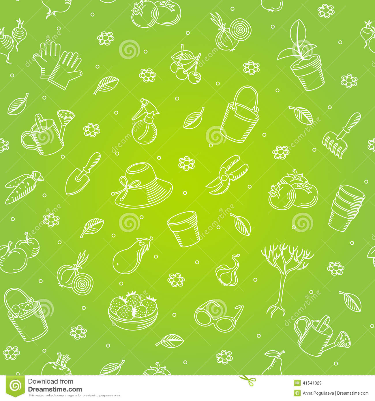 vector seamless backgroung of hand drawn garden tools