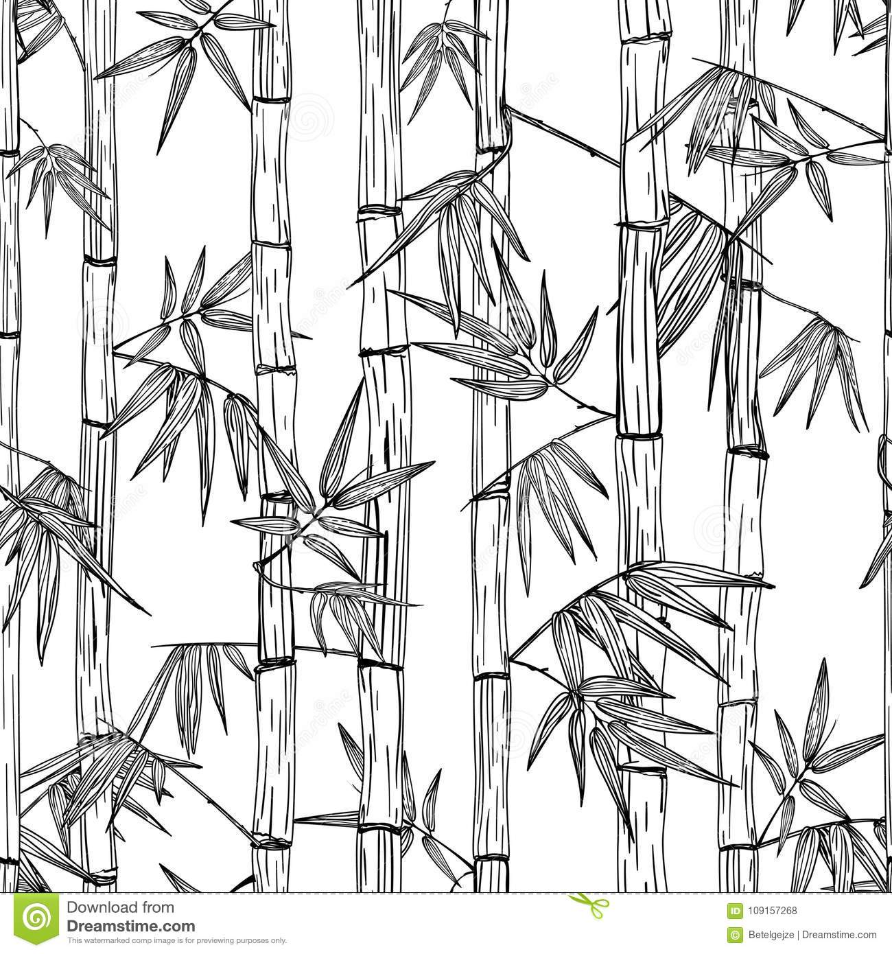 Fashion Forest Beauty Salon: Vector Seamless Bamboo Forest Pattern. Design For Textile
