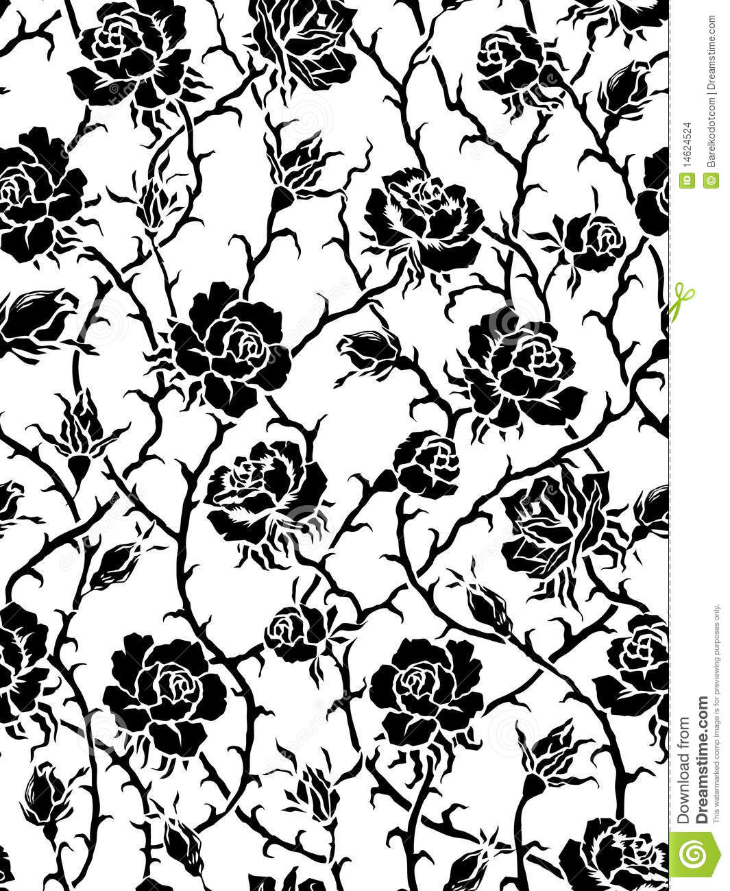 Vector. Seamless Black Roses Pattern Stock Vector - Image ...