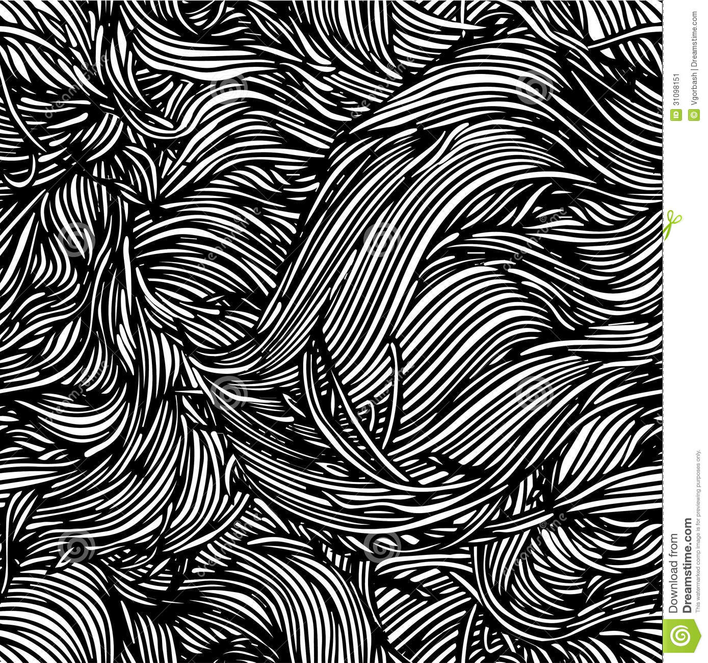 Vector Seamless Black And White Abstract Hand-drawn Pattern With ...
