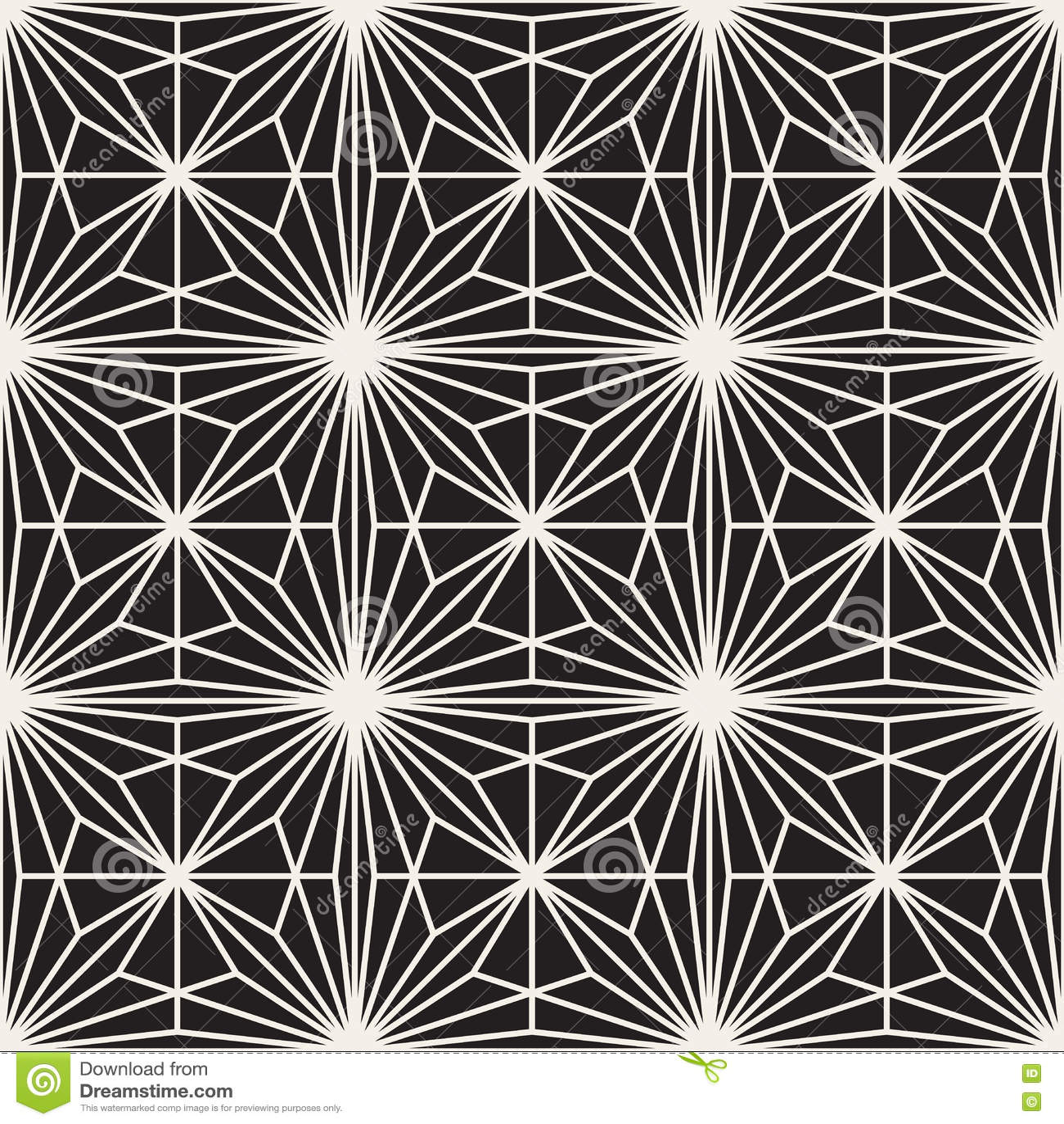 Vector Seamless Black And White Bursting Lines Geometric Pattern