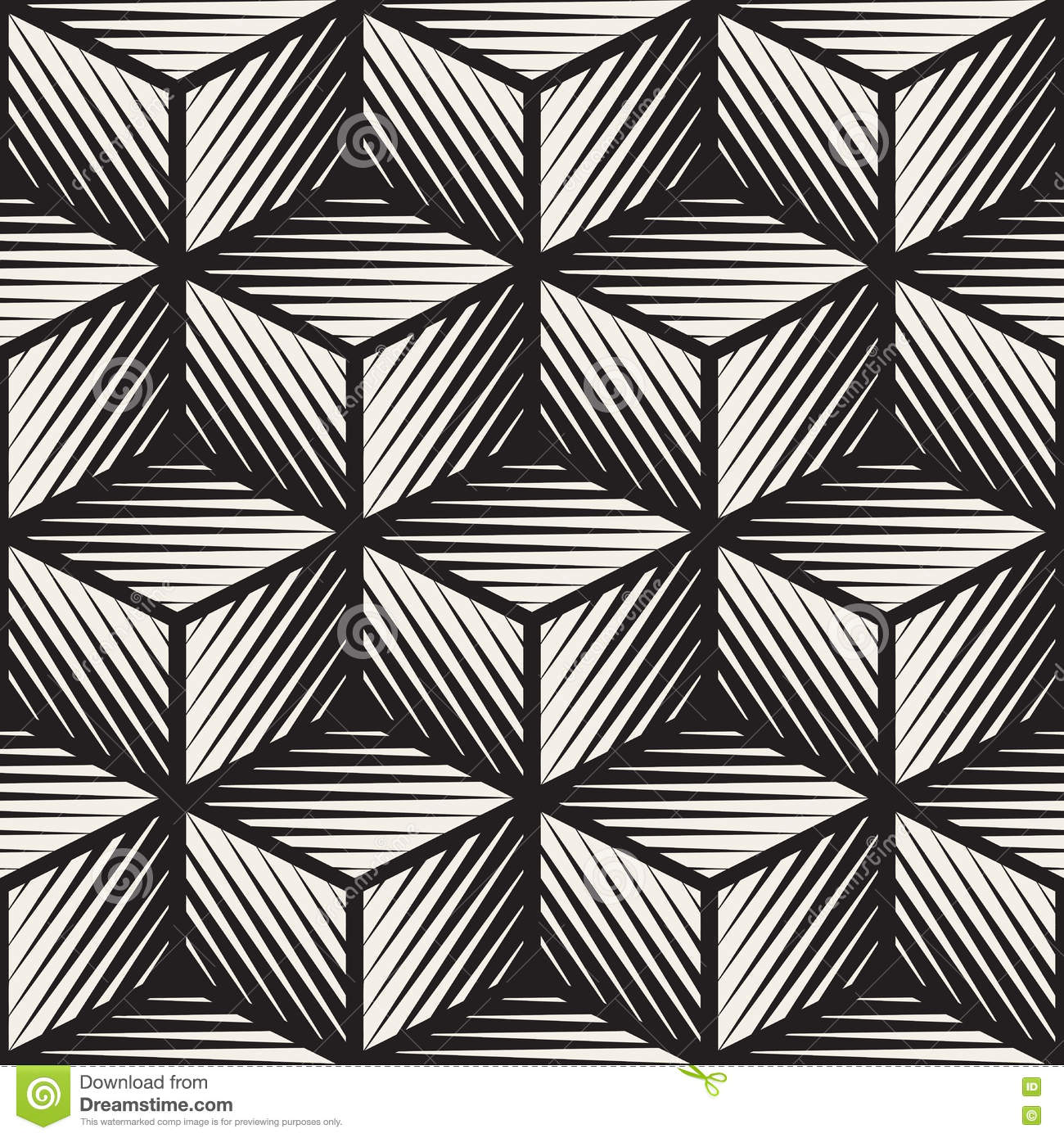 Vector Seamless Black And White Cube Shape Lines ...