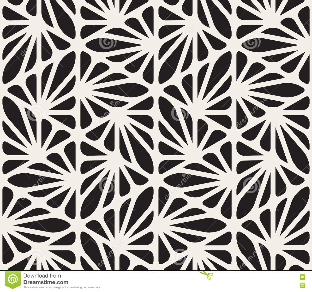 vector seamless black and white floral organic triangle
