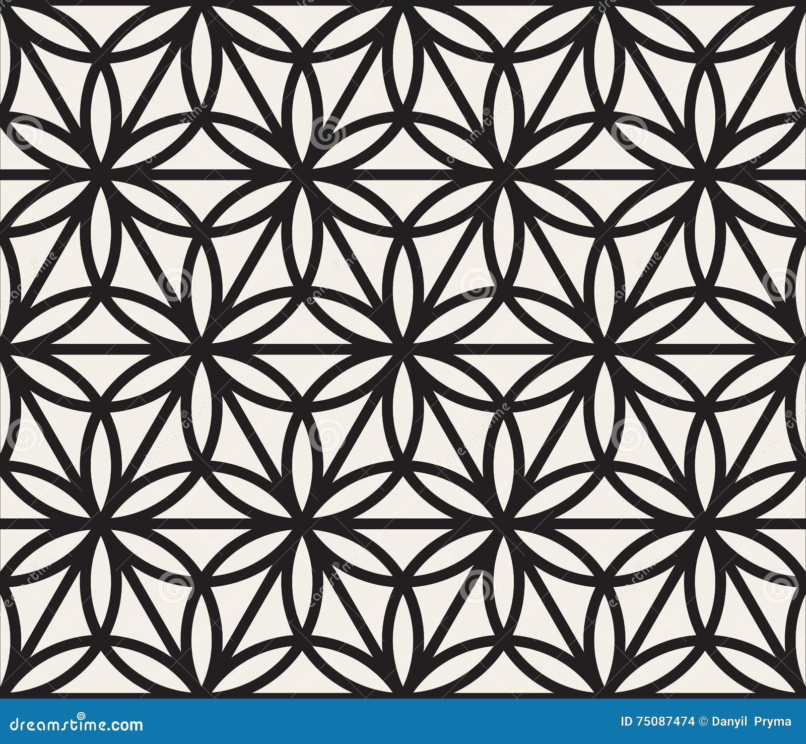 vector seamless black and white geometric circle triangle