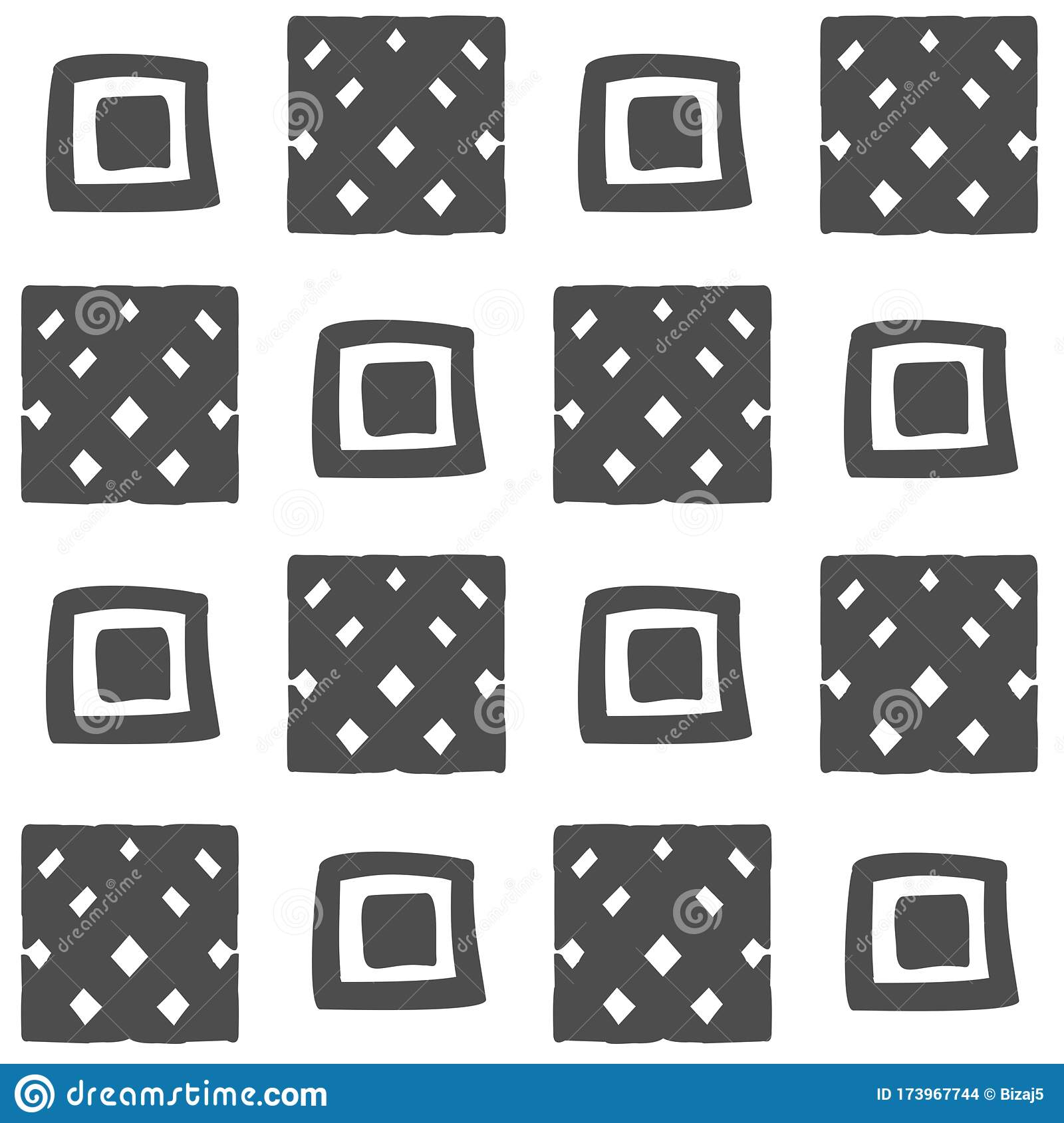 Vector Seamless Black And White Geometric Pattern From Hand Drawn Different Squares For Decor Textile Fabric Carpet Wallpaper Stock Illustration Illustration Of Decorative Illustration 173967744