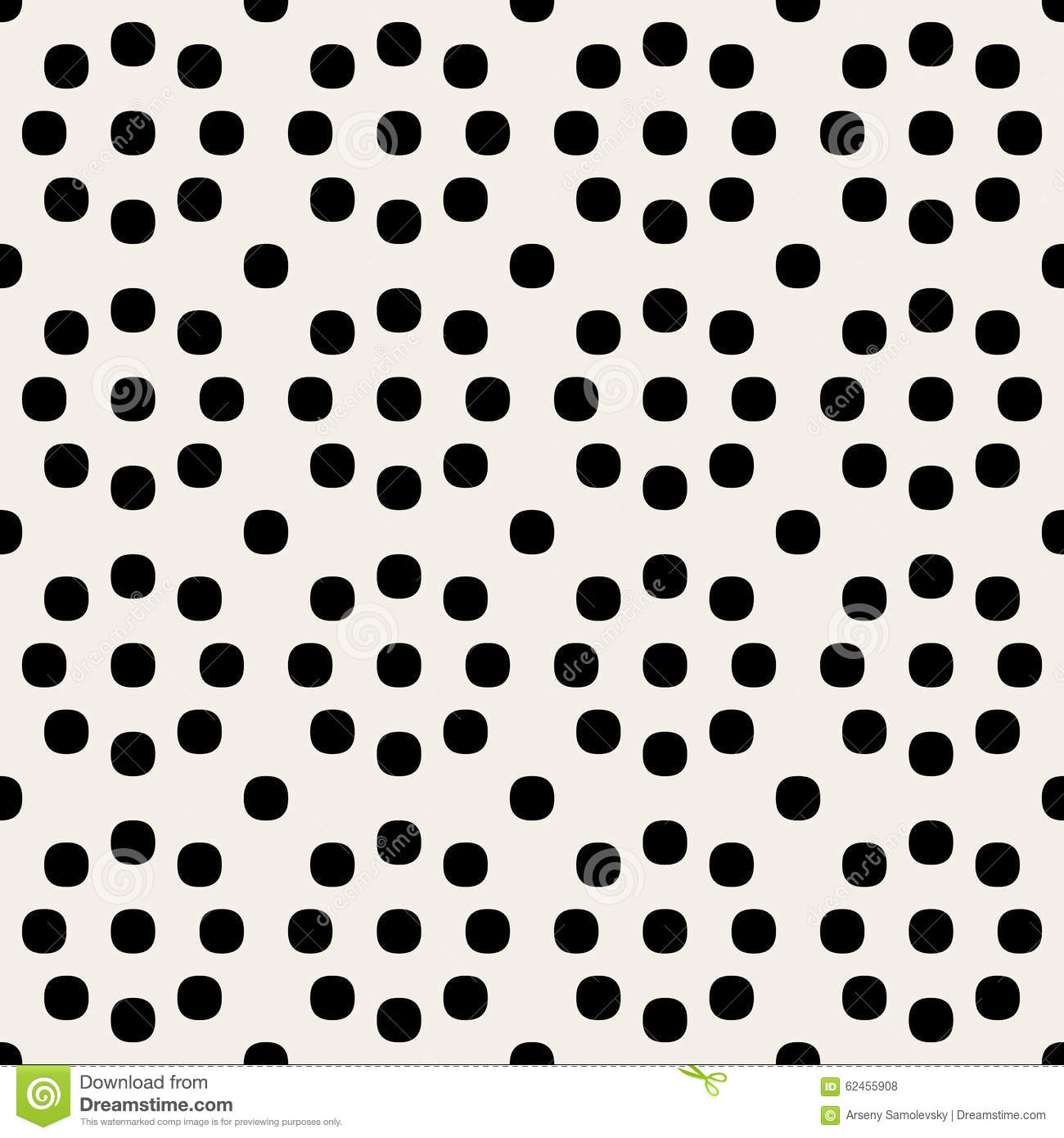 Vector Seamless Black and White Geometric Rounded Circles Retro Polka Dots Pattern