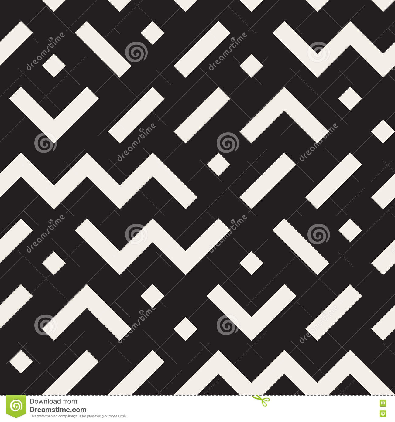 vector seamless black and white geometric shapes jumble pattern