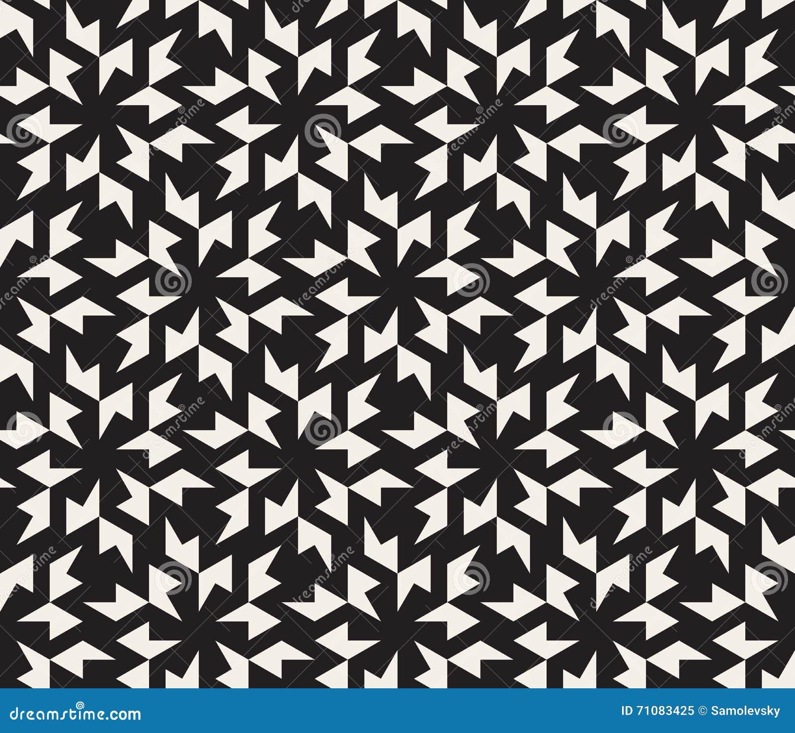 Vector Seamless Black And White Geometric Tessellation