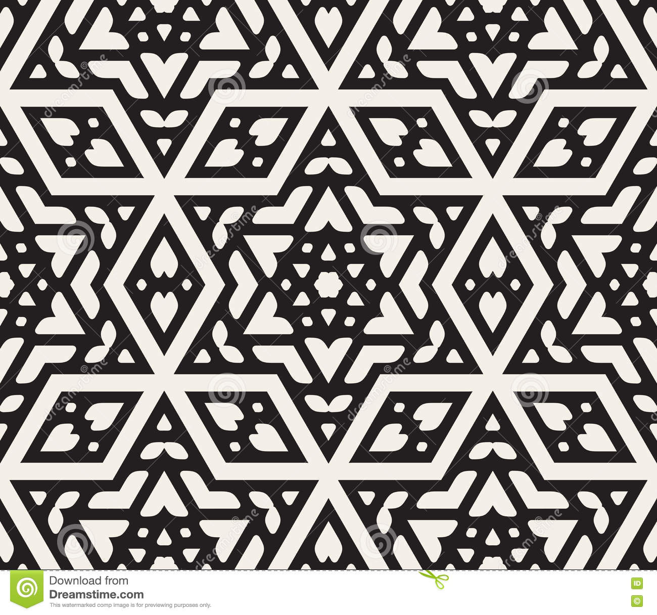 black white ornamental seamless pattern cartoon vector 92110387. Black Bedroom Furniture Sets. Home Design Ideas