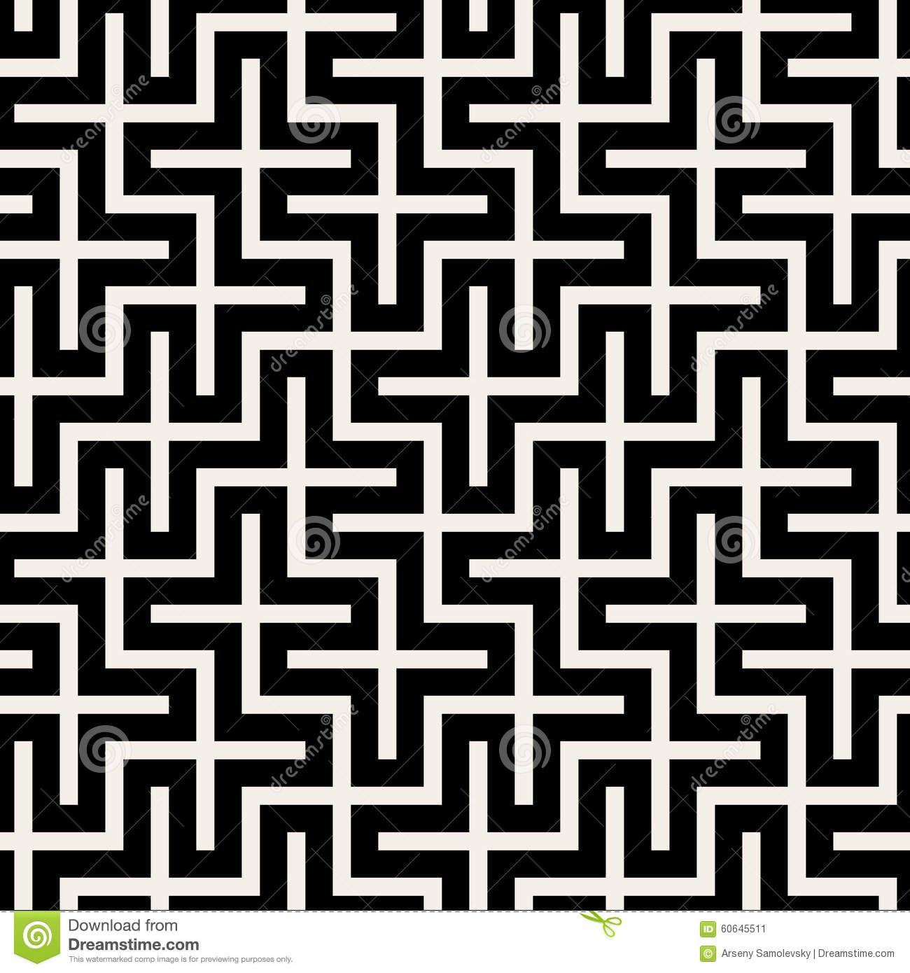 vector seamless black white square maze grid pattern background 60645511