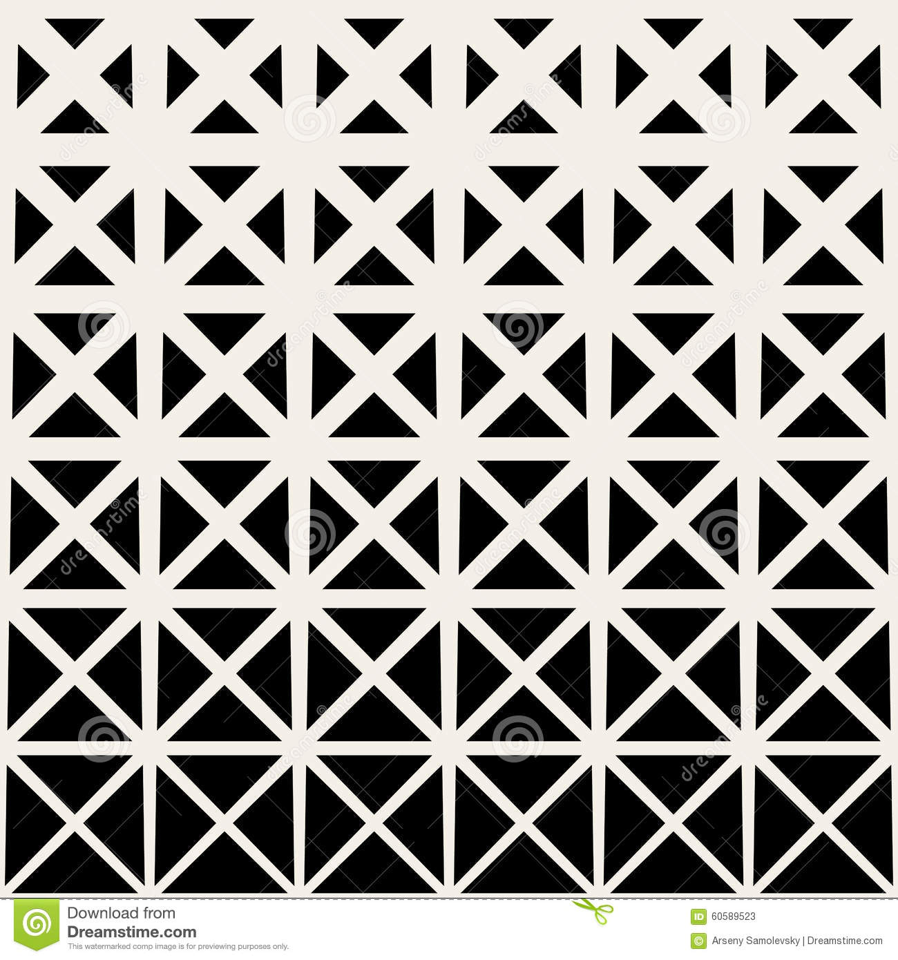 vector seamless black and white triangle grid halftone pattern stock
