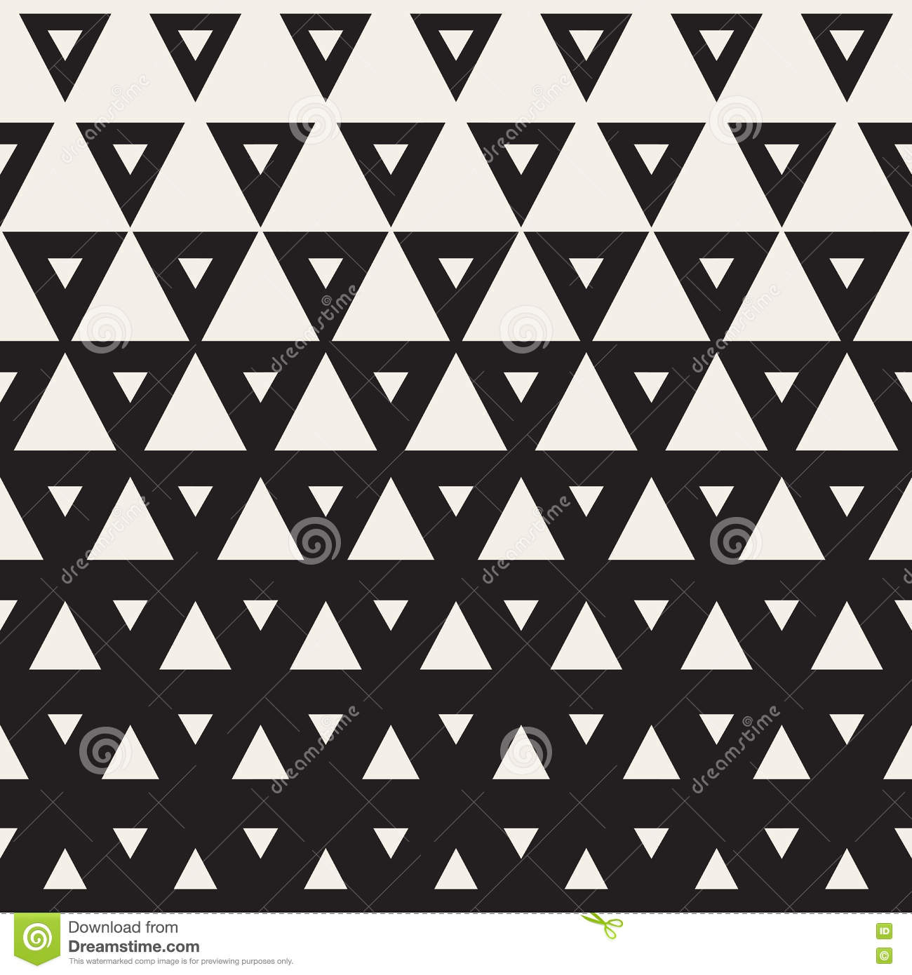 vector seamless black and white triangle halftone