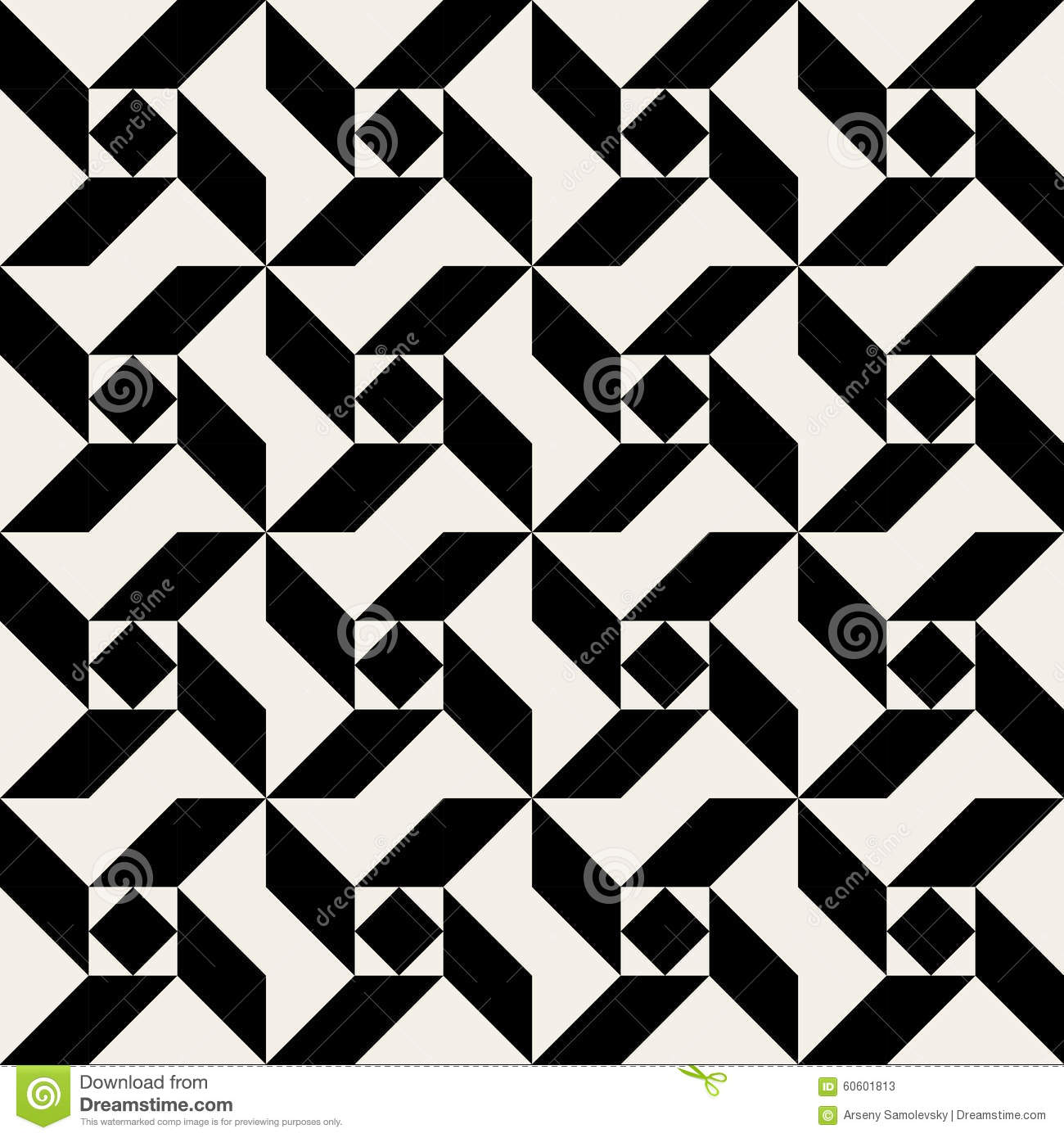 Vector Seamless Black And White Triangle Square Spiral Geometric
