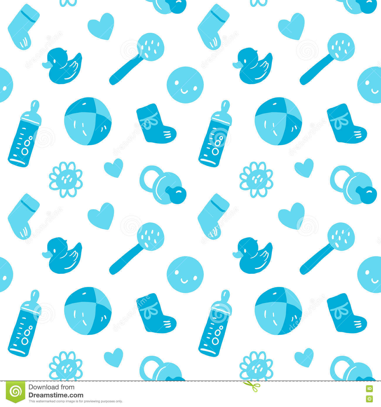 Vector seamless blue baby pattern with toys